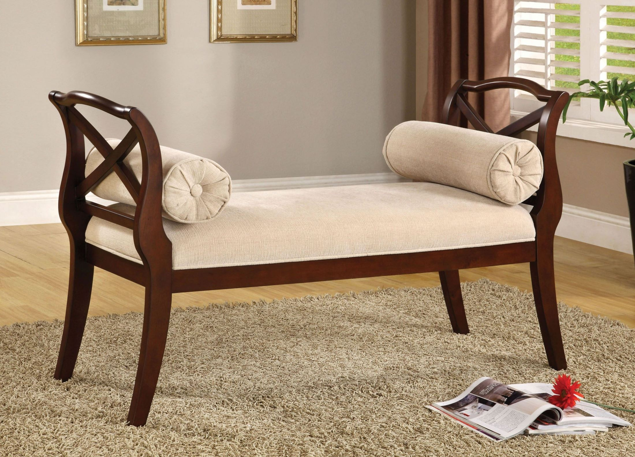 Philipsberg Dark Cherry Bench From Furniture Of America