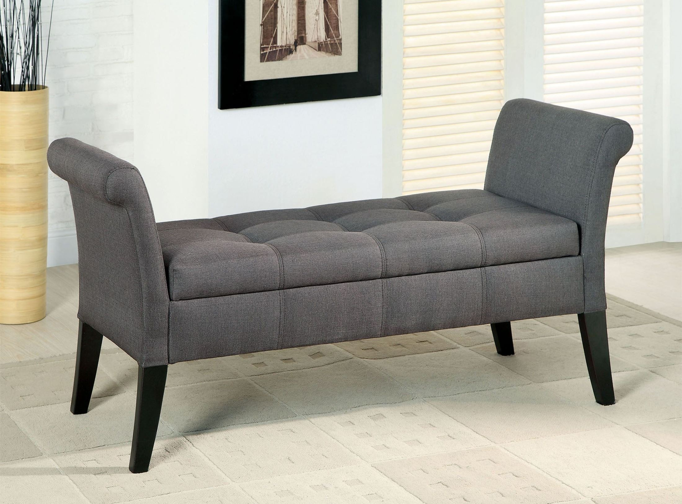 Doheny gray fabric storage bench from furniture of america cm bn6190gy coleman furniture Gray storage bench