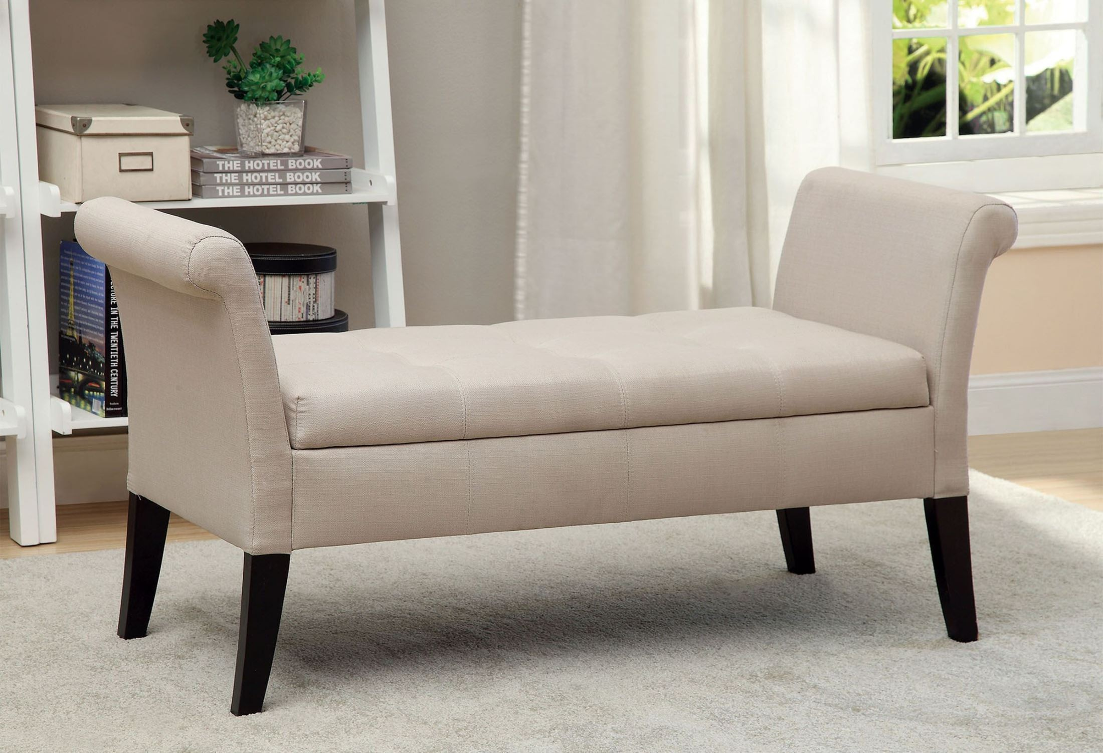 Doheny Ivory Fabric Storage Bench From Furniture Of