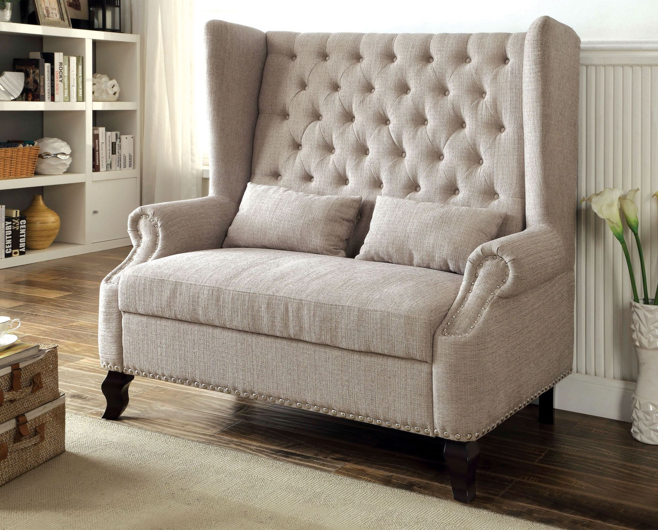 Alcacer Beige Loveseat From Furniture Of America Cm