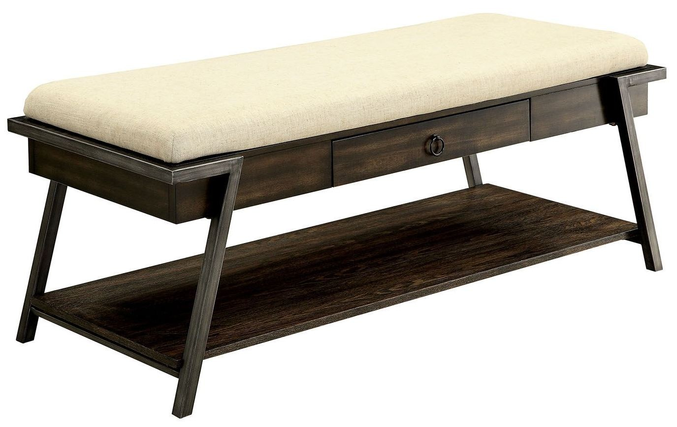 Blanche dark oak bench from furniture of america coleman for Furniture of america furniture
