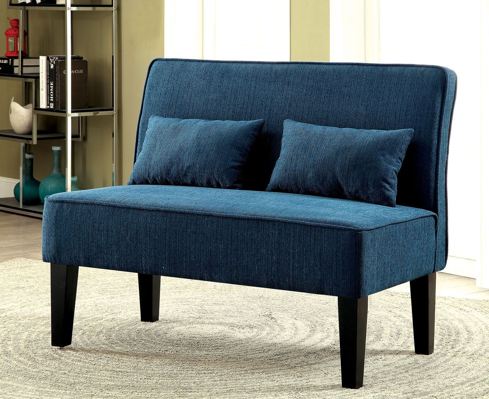 Lexi Teal Loveseat Bench From Furniture Of America Coleman Furniture