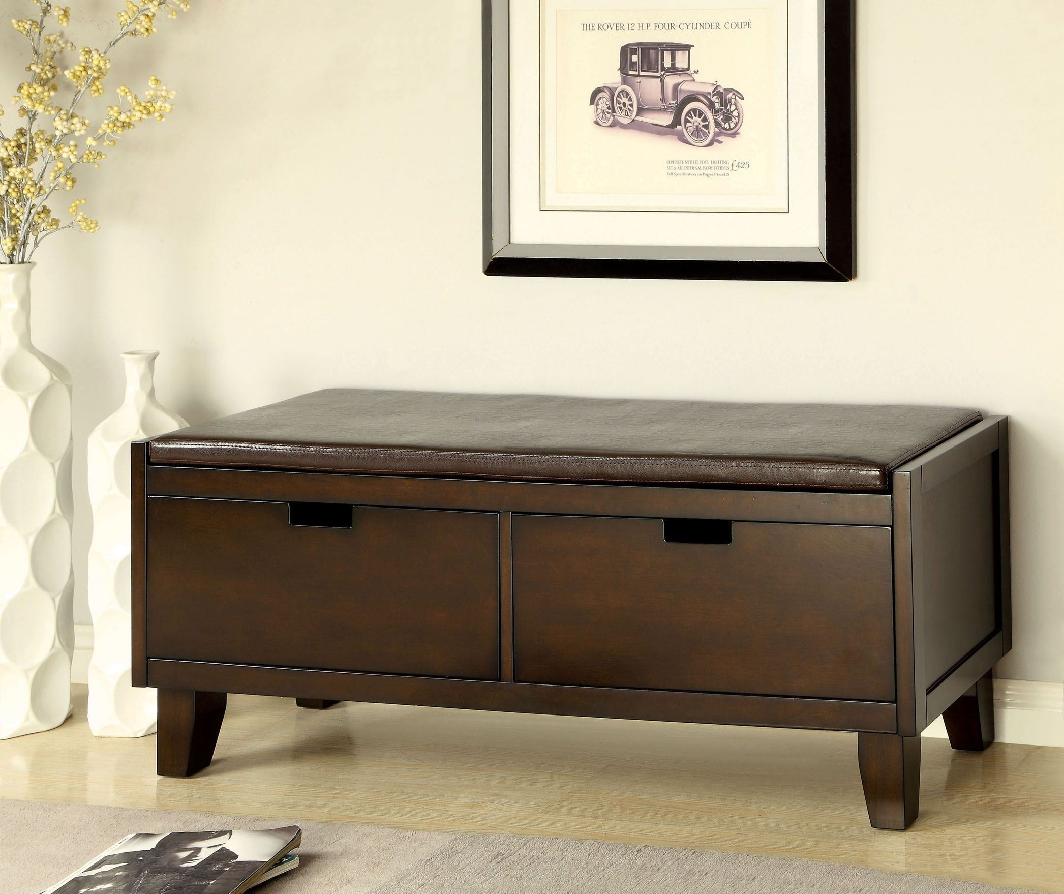 hebron 2 drawer storage bench from furniture of america