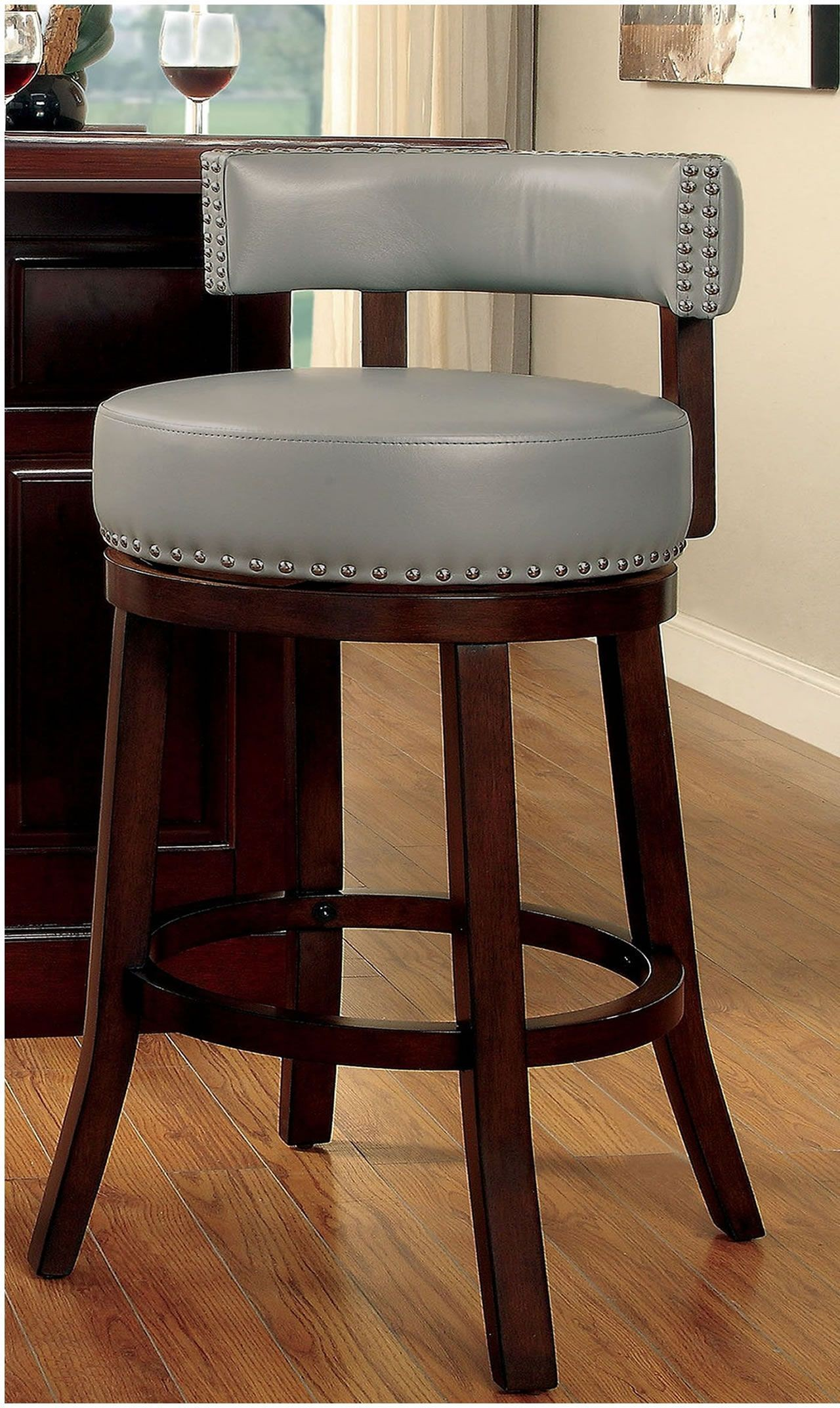 Shirley Gray 24 Bar Stool Set Of 2 From Furniture Of America