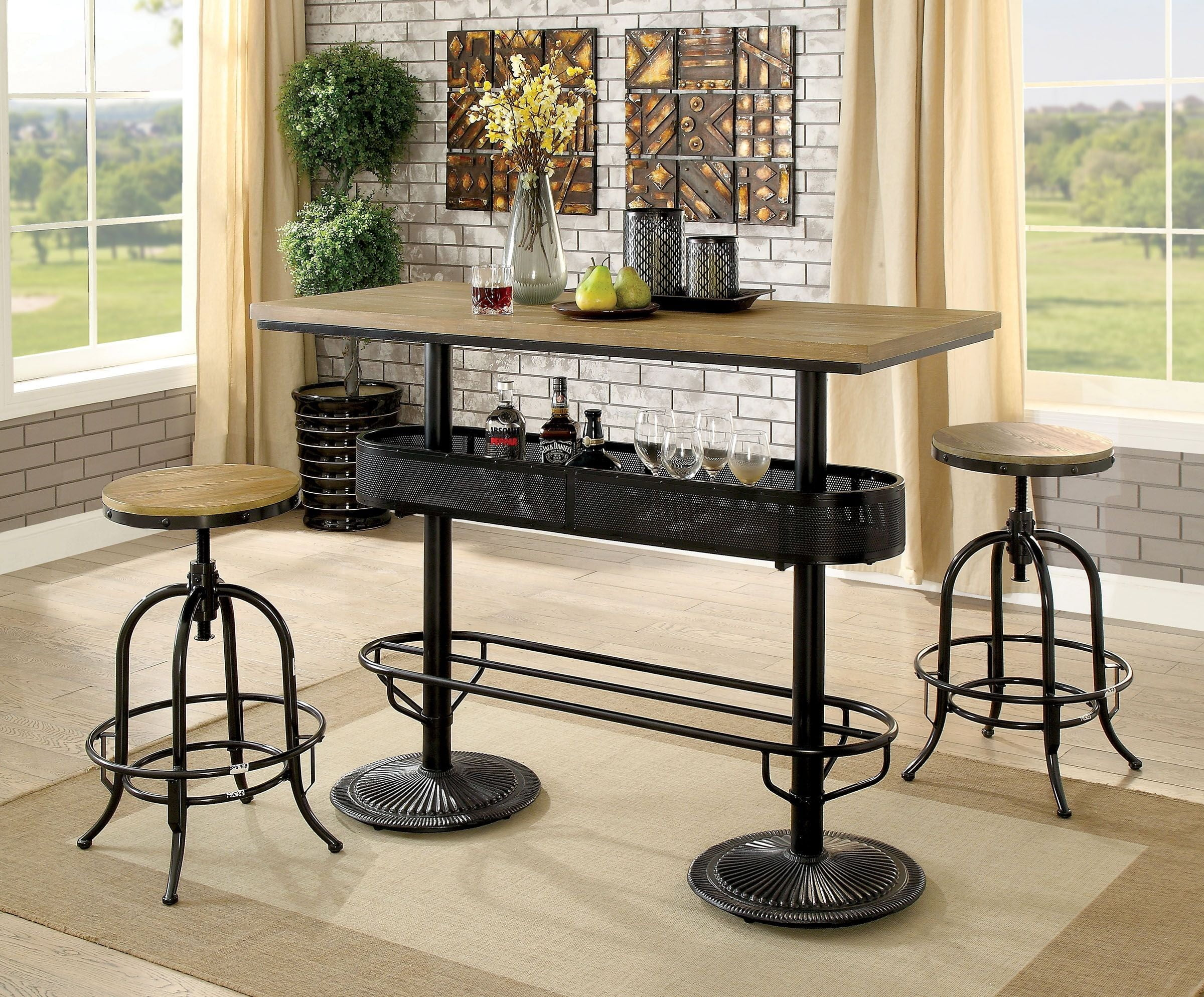 Incroyable Denehan Black Silver Bar Table Set From Furniture Of America | Coleman  Furniture