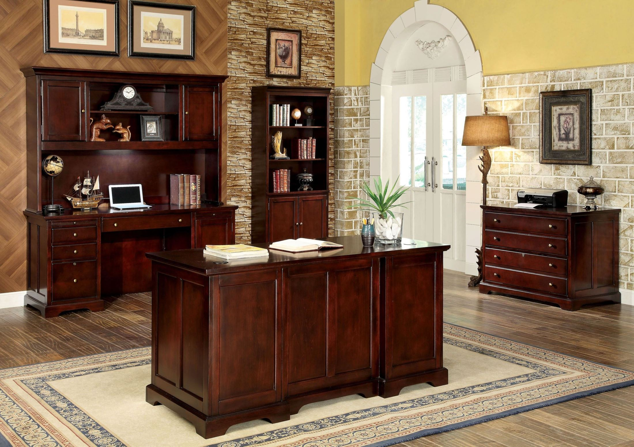 Desmont Cherry Office Desk from Furniture of America (CM ...