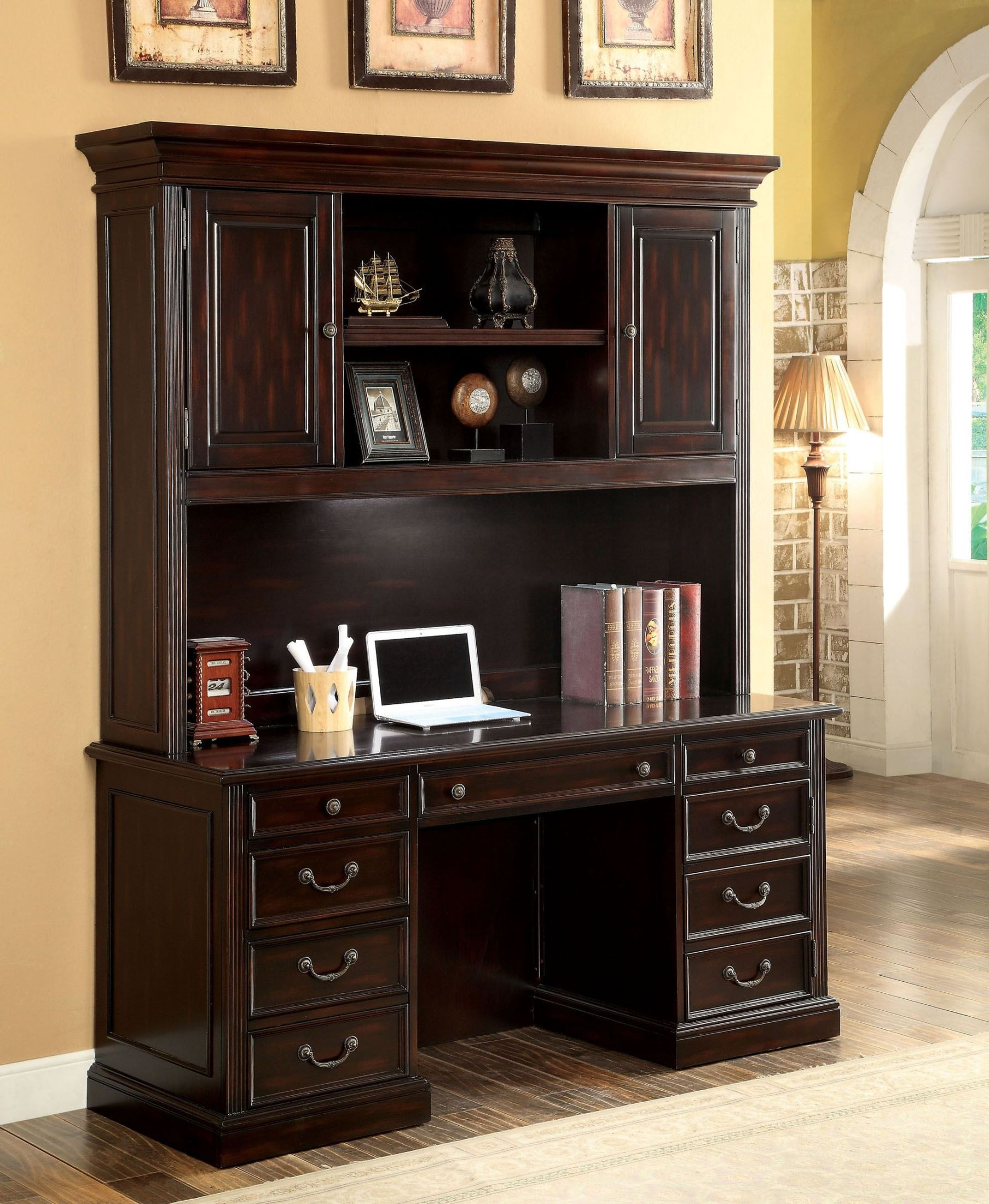 Coolidge Cherry Credenza Desk With Hutch From Furniture Of