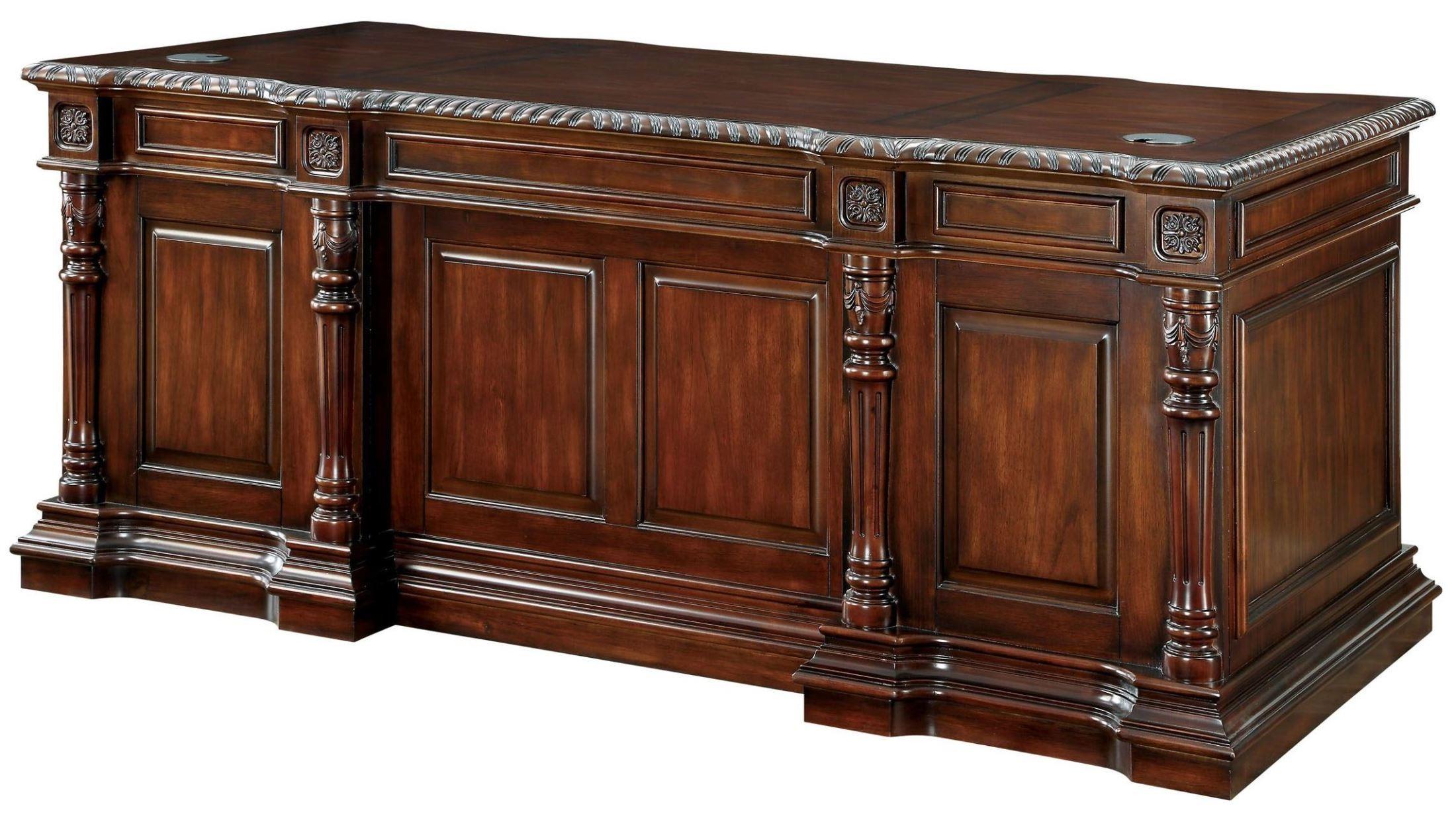office furniture desk vintage chocolate varnished. Roosevelt Cherry Office Desk · Furniture Of America 666915 Vintage Chocolate Varnished H