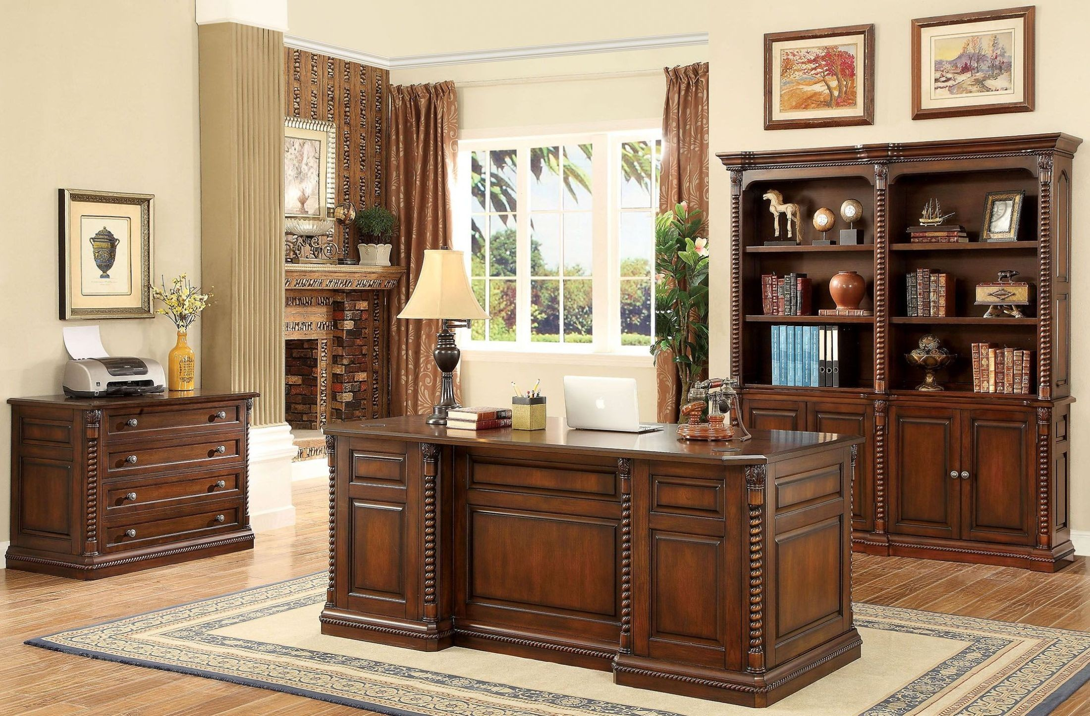 vicki dark oak home office set from furniture of america