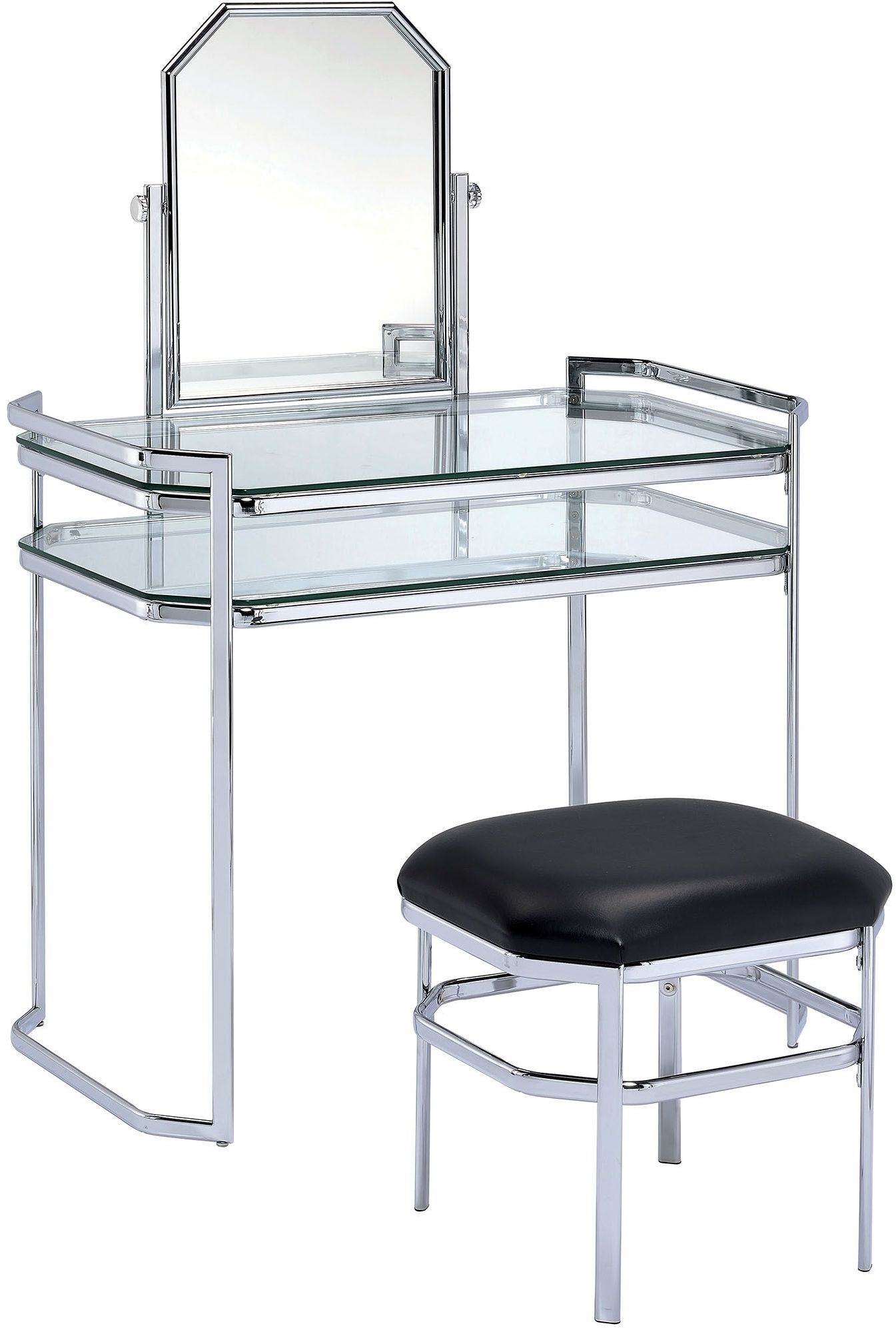 Colleen Chrome Vanity With Stool From Furniture Of America