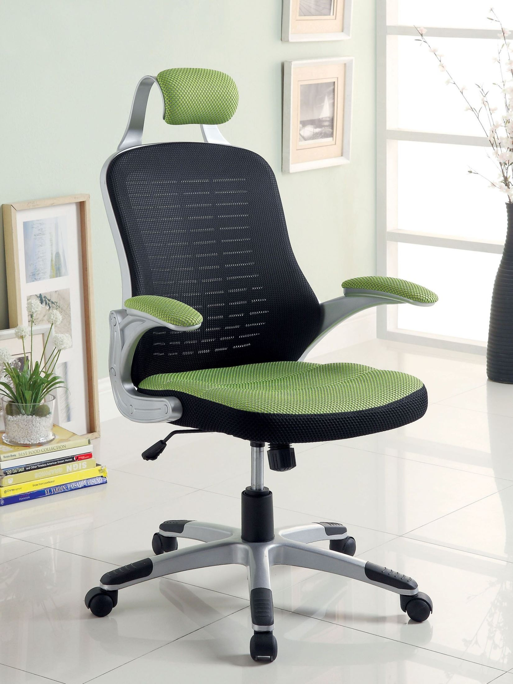 Cesta Green And Black Adjustable Height Office Chair From