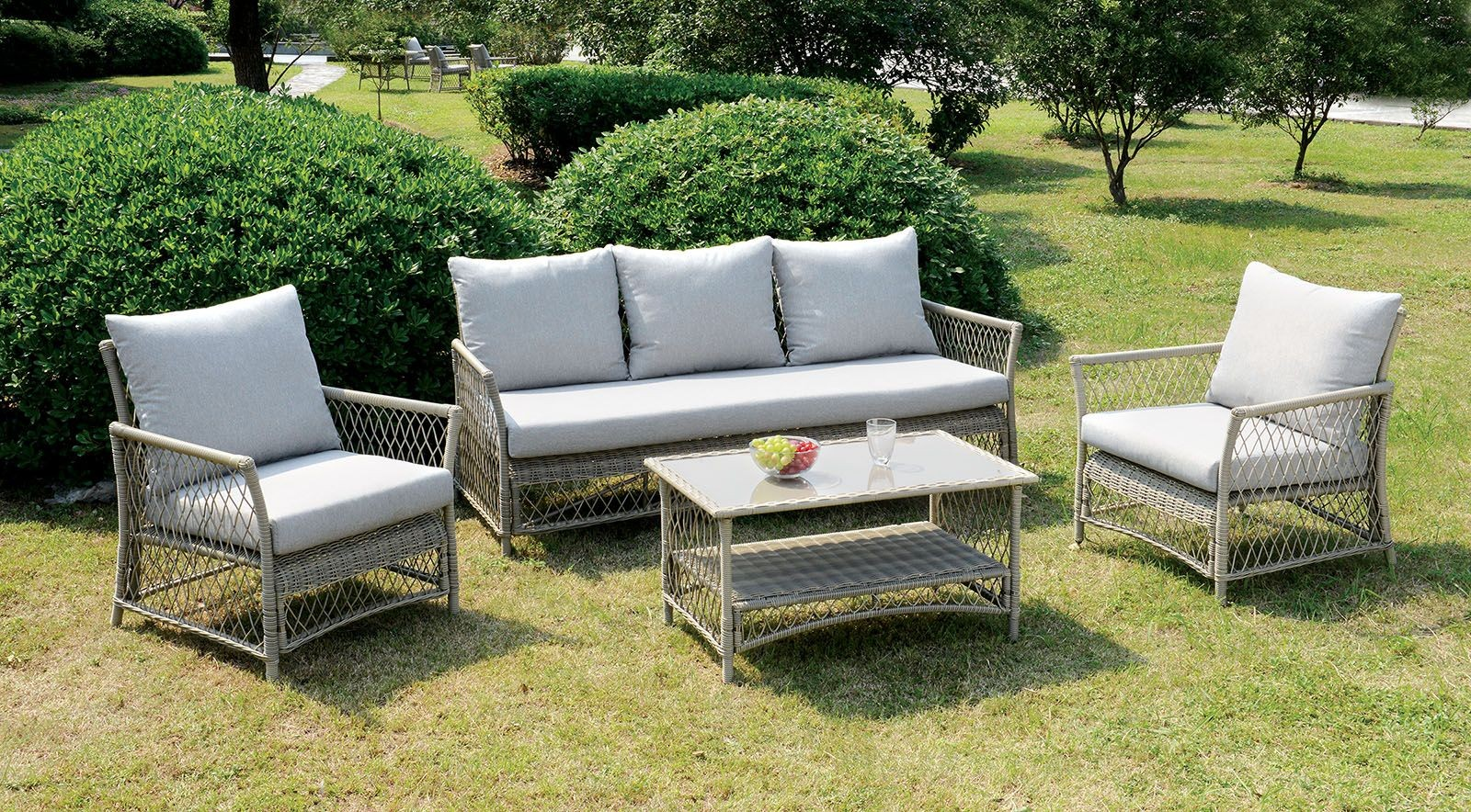 Jacquelyn Light Gray 4 Piece Patio Seating Set From Furniture Of America Coleman Furniture