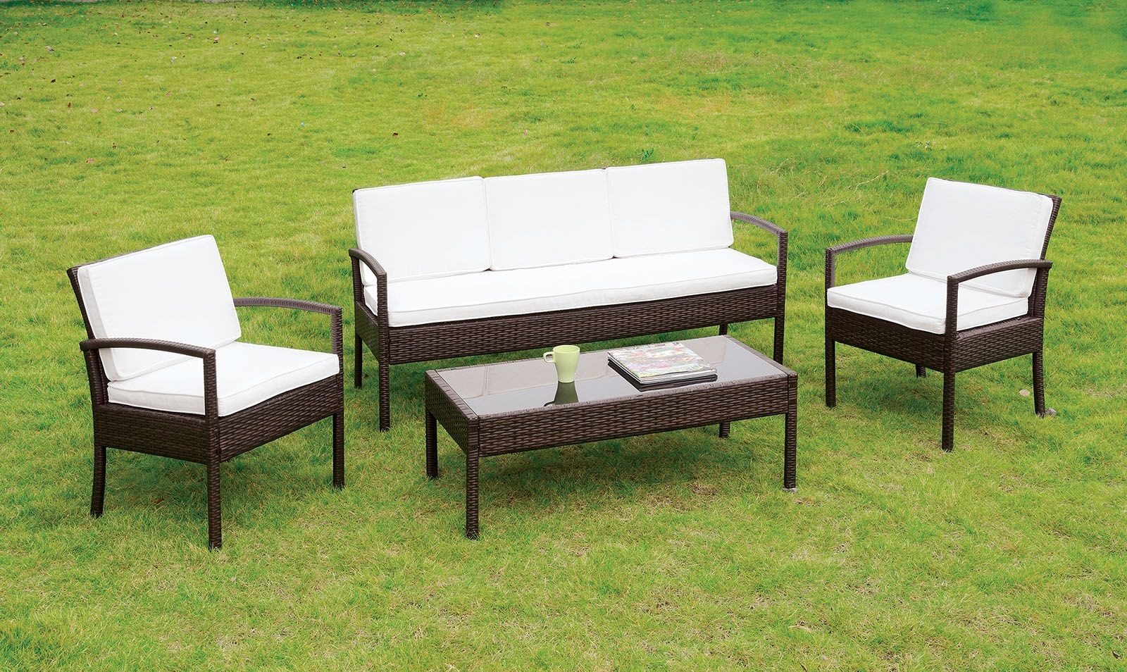 Makenna White And Espresso 4 Piece Patio Seating Set From