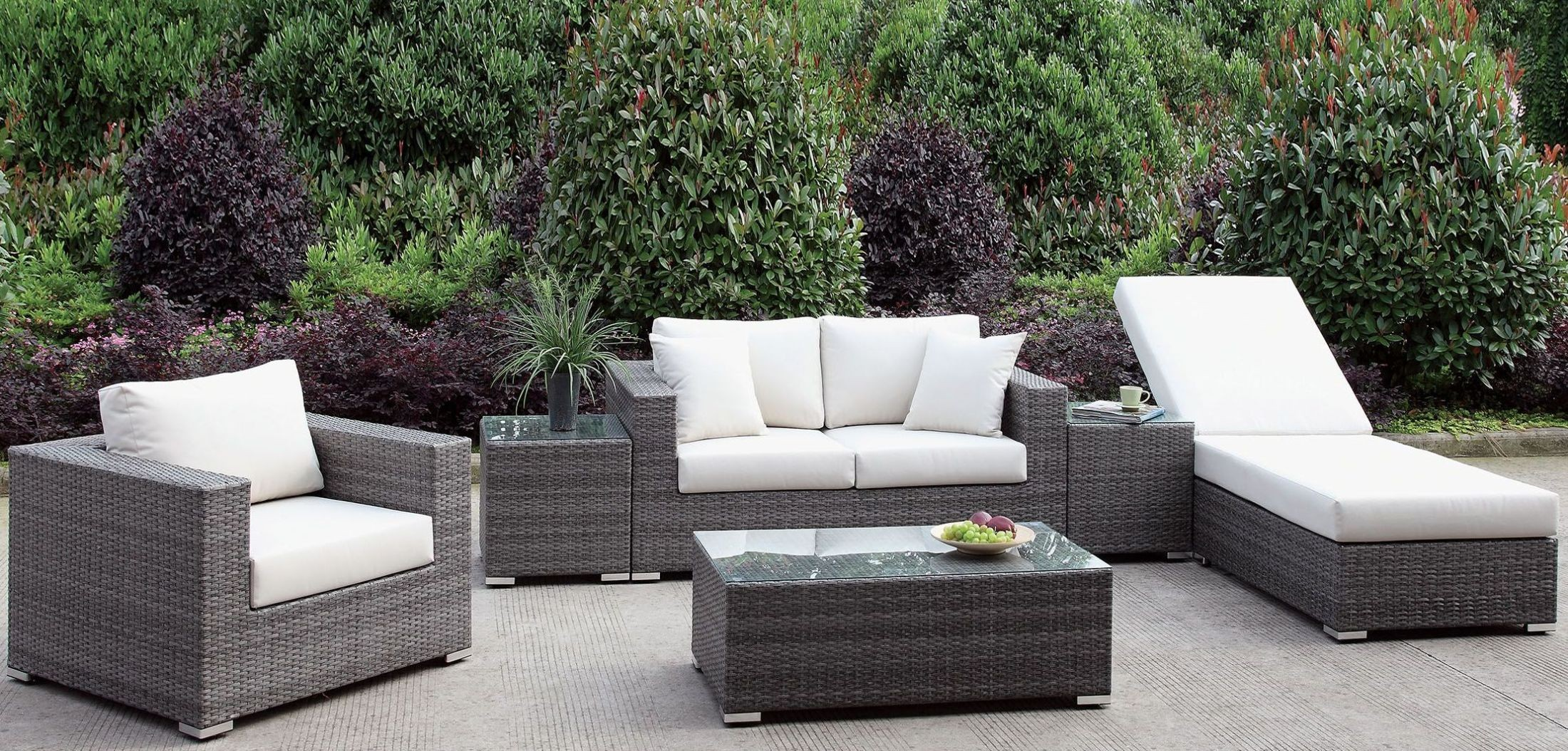 Somani gray and ivory outdoor living room set from for M s living room furniture