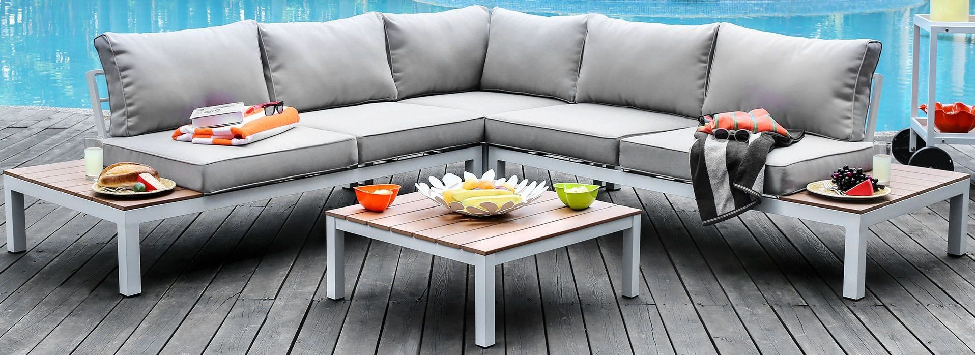 Winona Gray Patio Sectional With Ottoman From Furniture Of