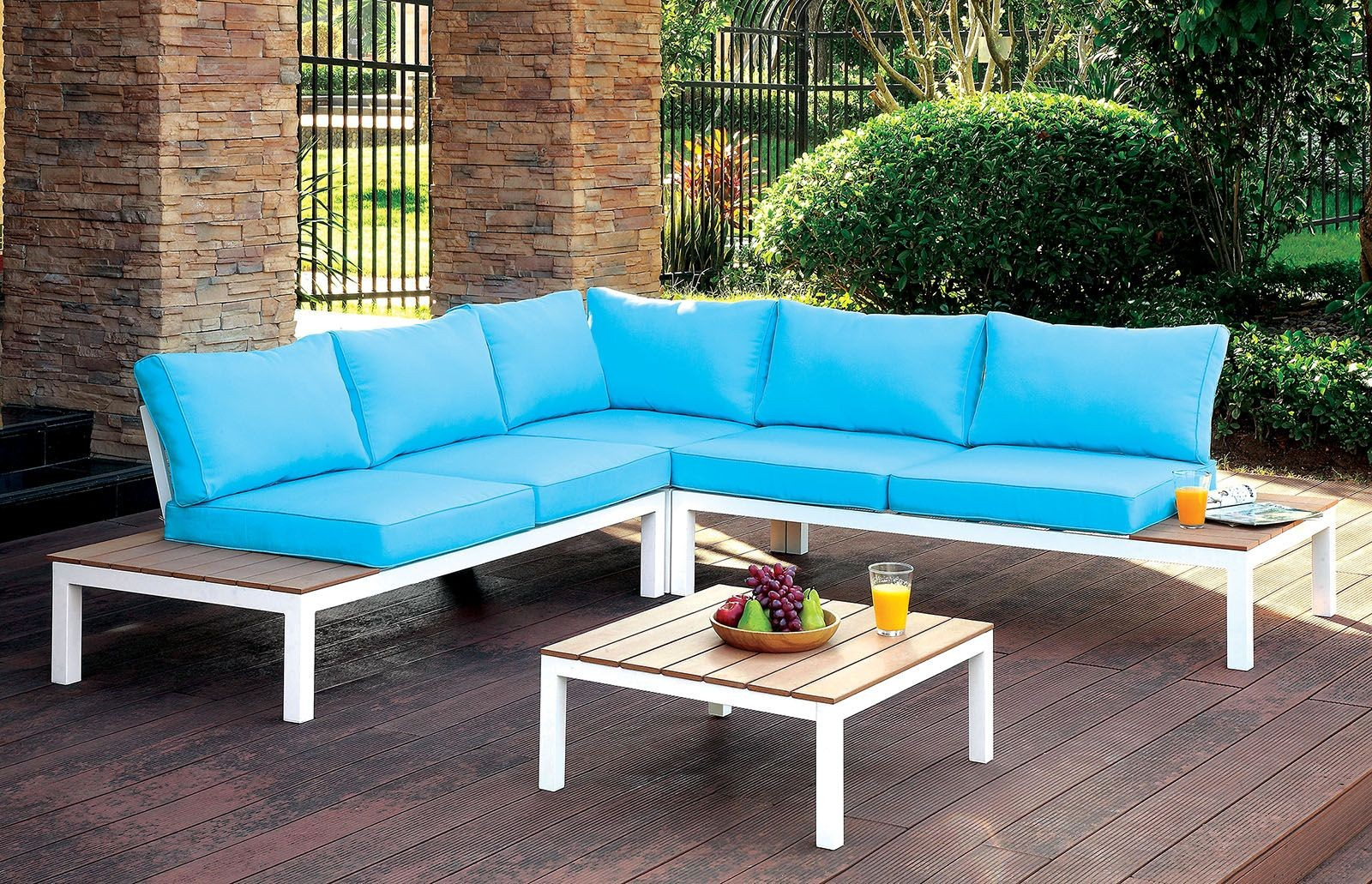 winona blue and white patio sectional with ottoman from furniture of america coleman furniture. Black Bedroom Furniture Sets. Home Design Ideas