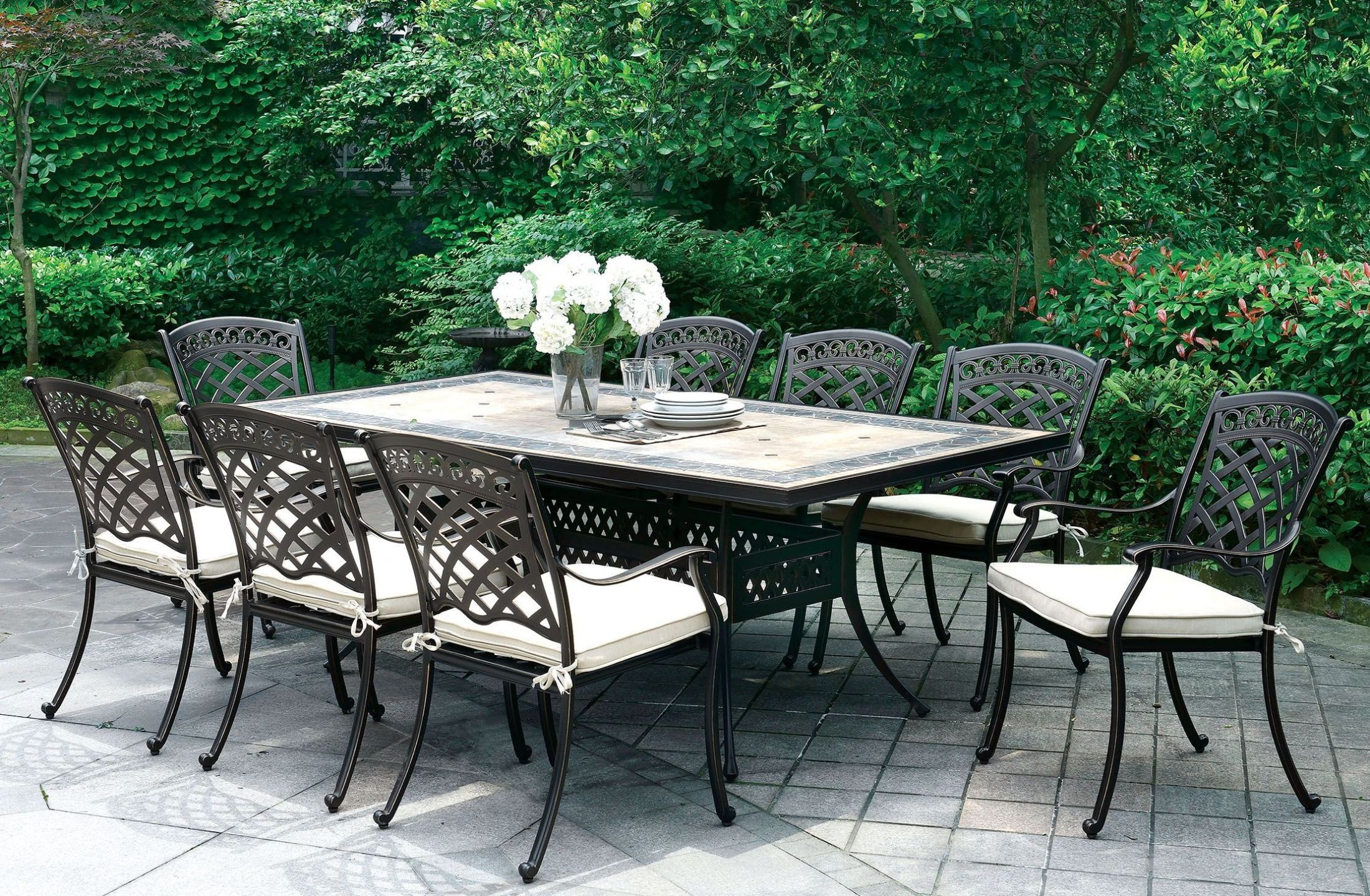 Charissa Antique Black Patio Dining Room Set from Furniture of America