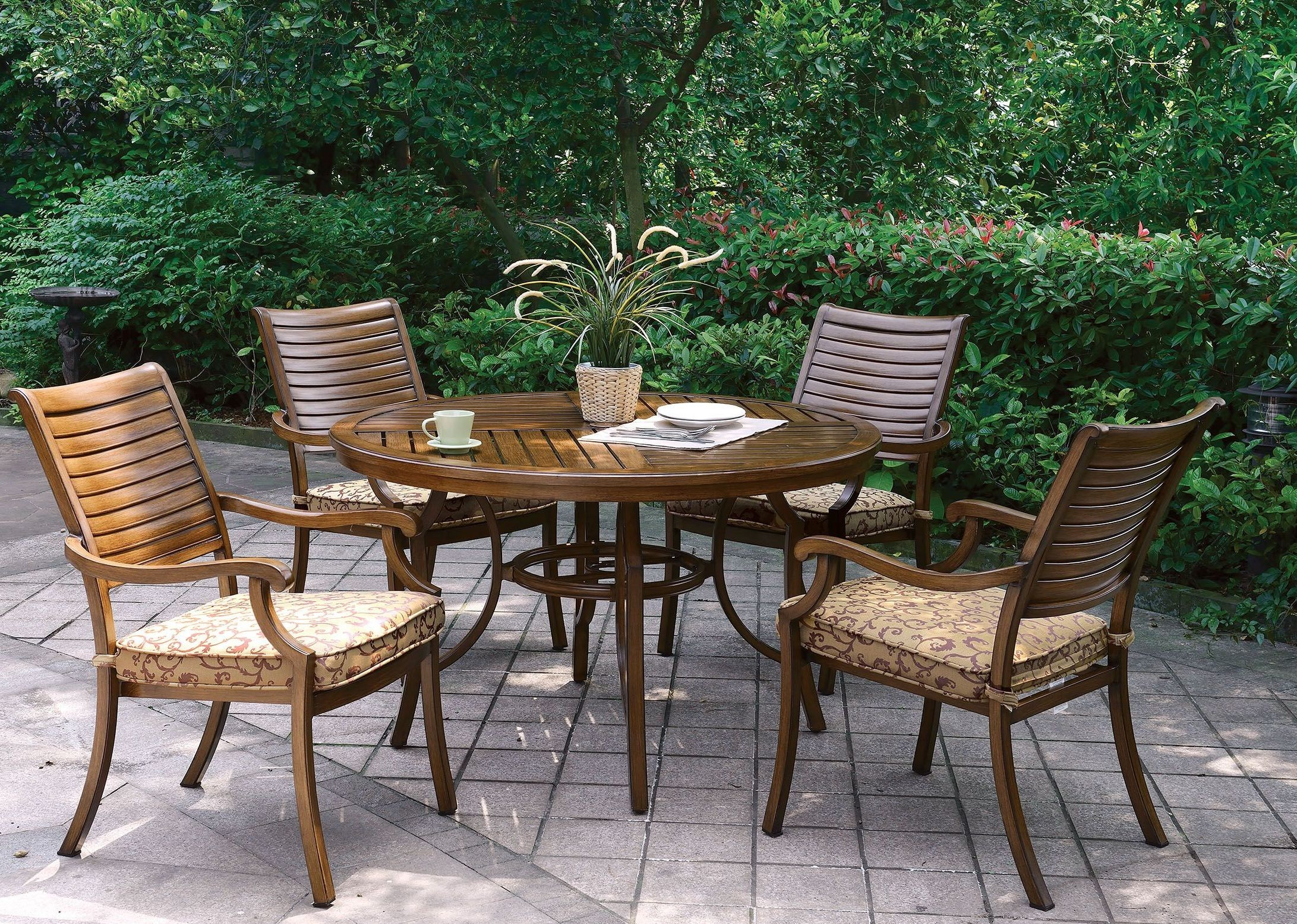Desiree Brown Round Patio Dining Table From Furniture Of America Coleman Fu