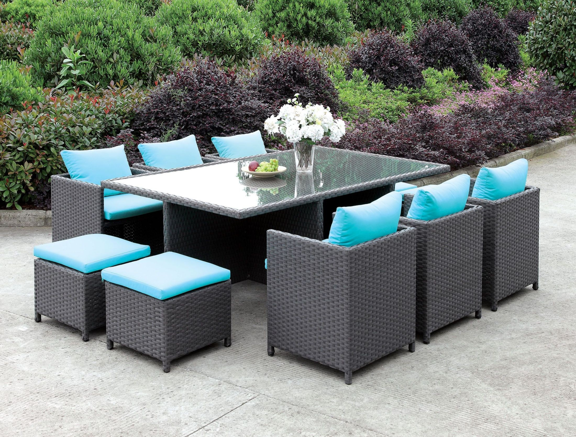Ashanti Light Brown 11 Piece Patio Dining Set From Furniture Of America |  Coleman Furniture