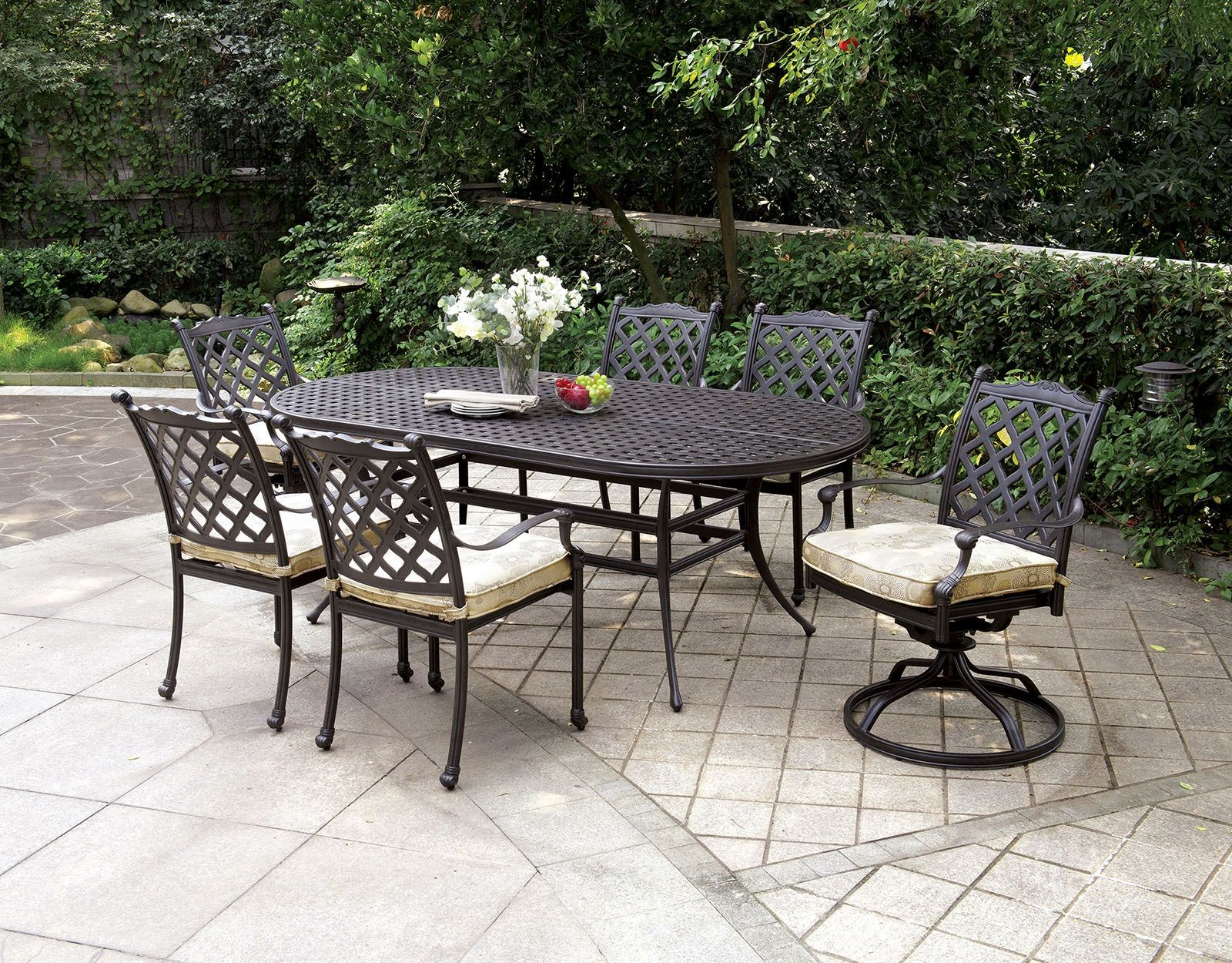 Chiara I Dark Gray Oval Patio Dining Room Set From Furniture Of America Coleman Furniture