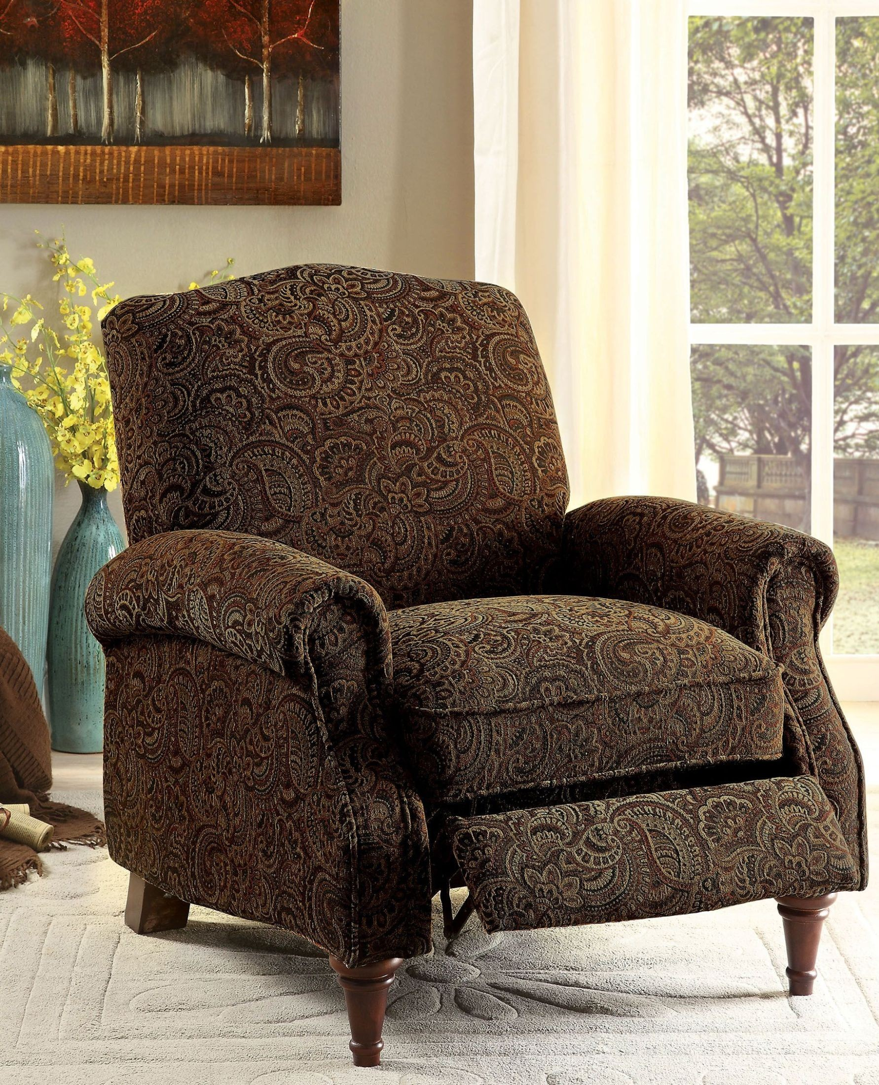Paulette Brown Pattern Push Back Reclining Chair : push back recliner chairs - islam-shia.org