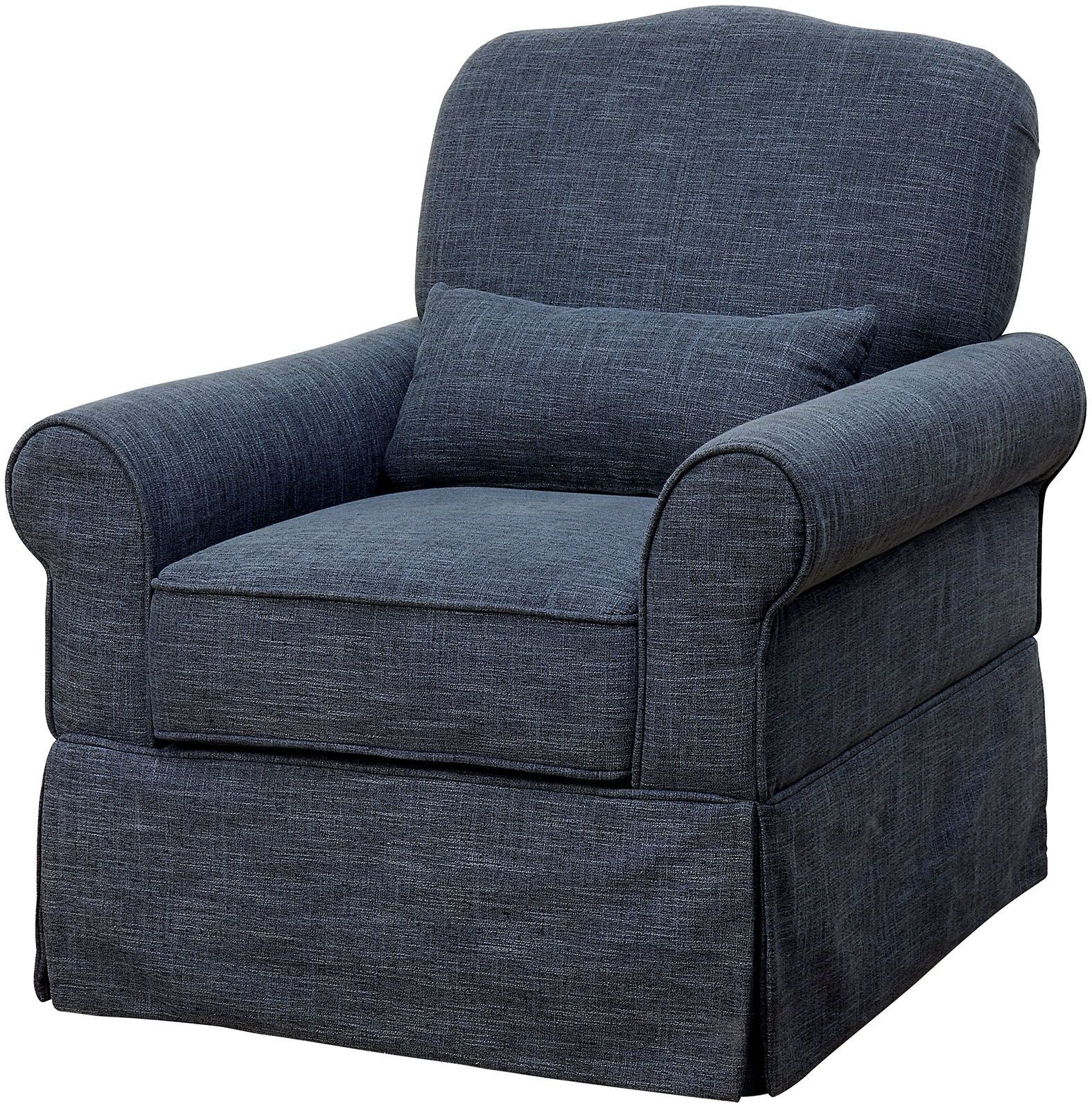 Lesly Dark Blue 360 Swivel Glider Reclining Chair from ...