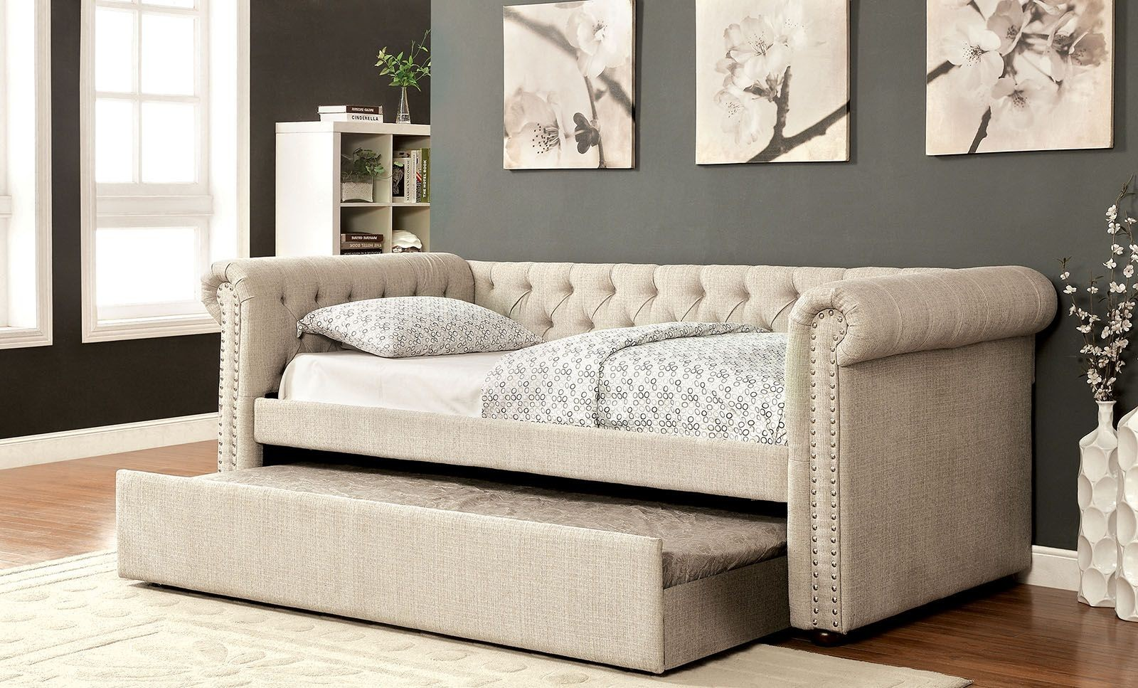 Leanna Beige Trundle Daybed From Furniture Of America