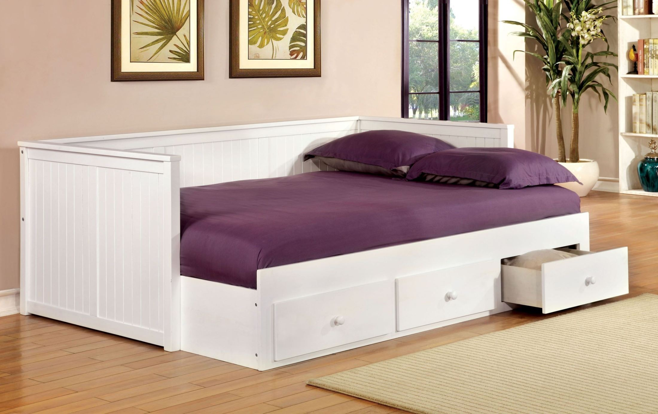 Wolford white full size storage daybed from furniture of Full size storage bed