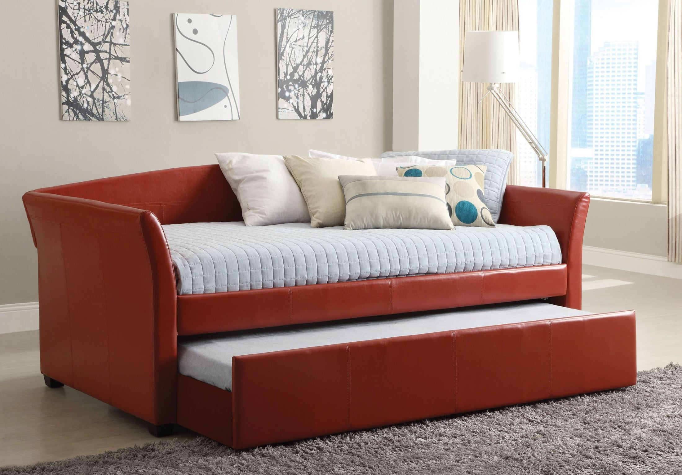 Delmar Red Trundle Daybed From Furniture Of America Cm1956rd Bed Coleman Furniture