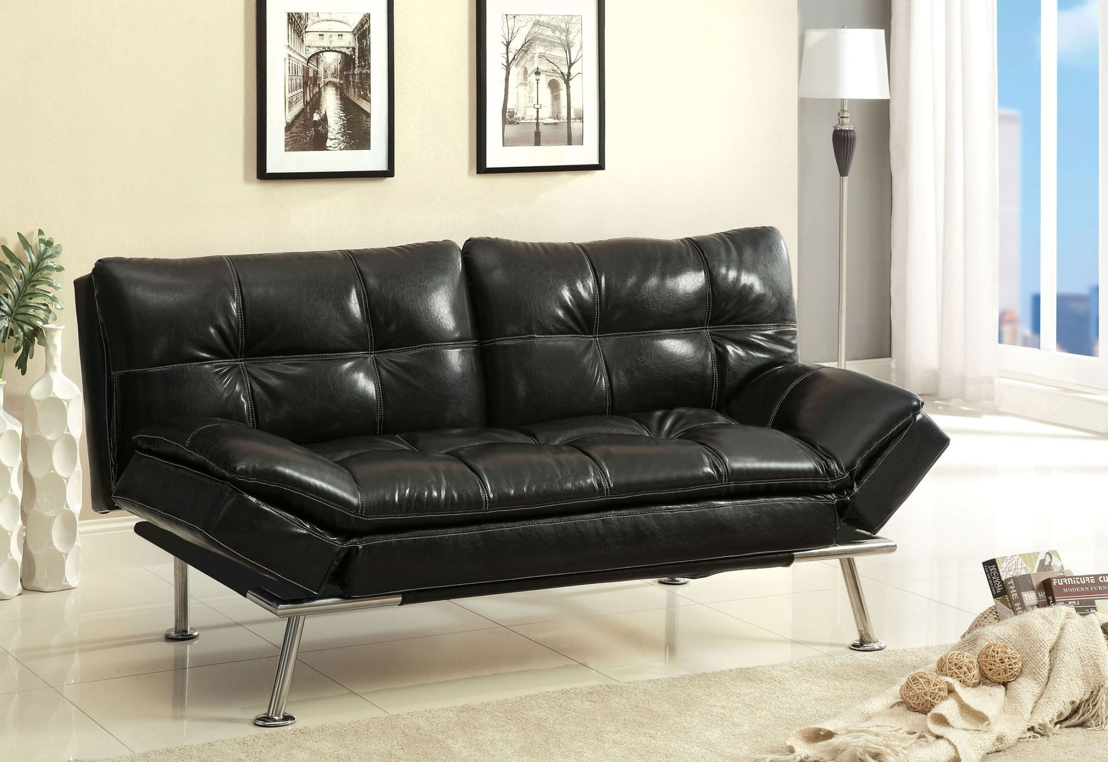 Benik black leatherette futon sofa from furniture of for American sofa berlin