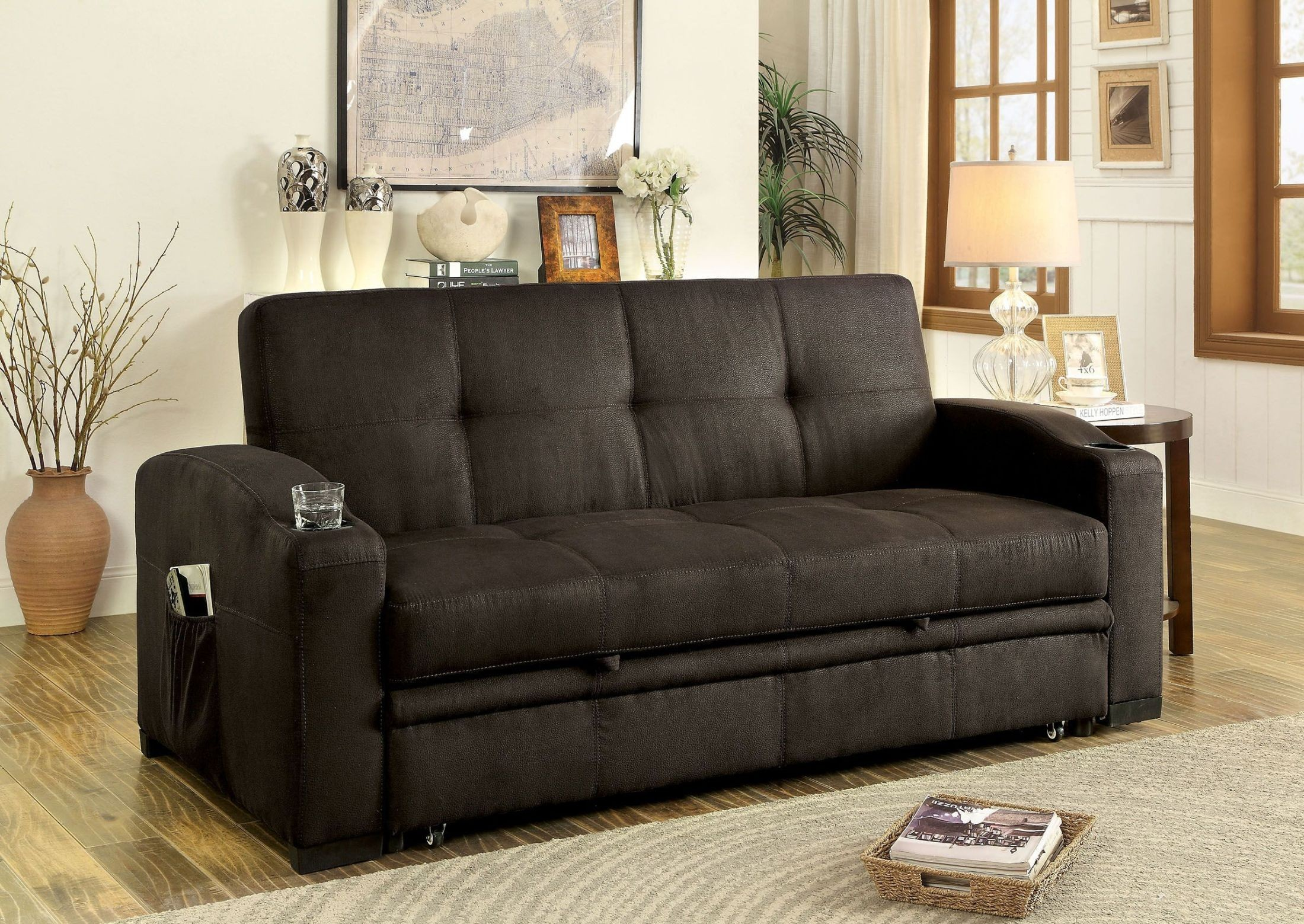 mavis dark brown futon sofa from furniture of america coleman furniture. Black Bedroom Furniture Sets. Home Design Ideas