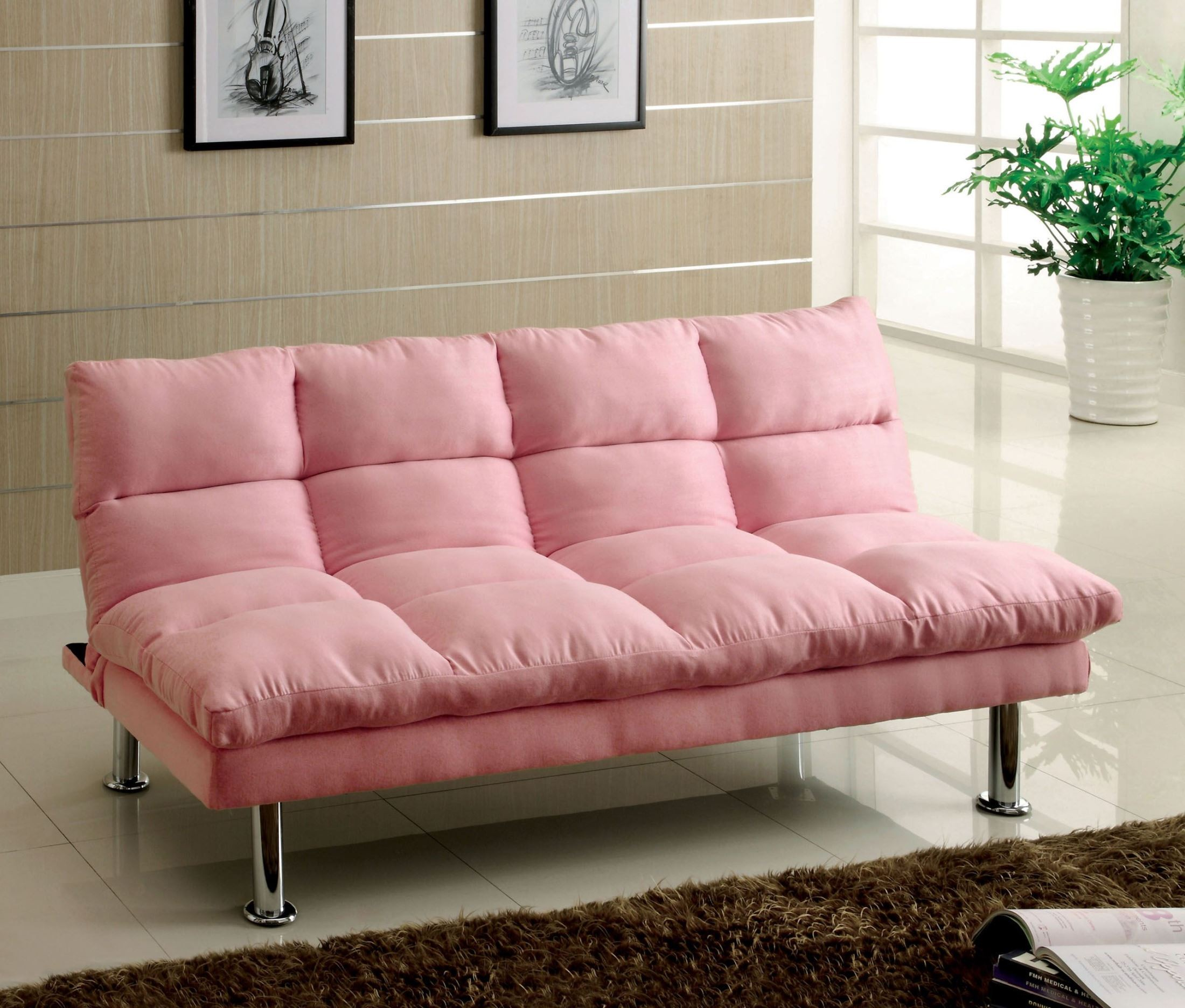 Saratoga Pink Microfiber Futon Sofa From Furniture Of