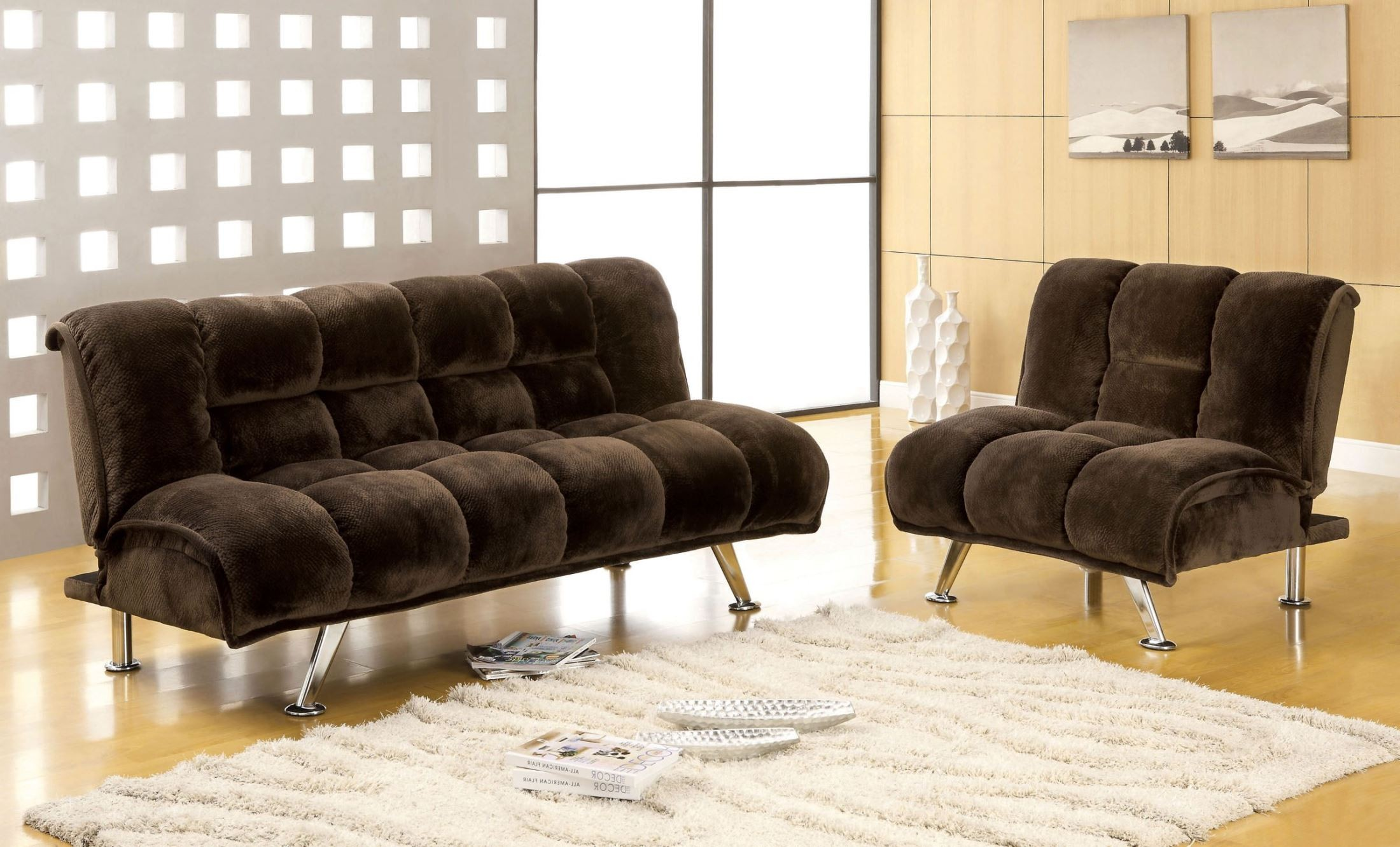 Marbelle dark brown champion fabric living room set from for Dark brown living room set