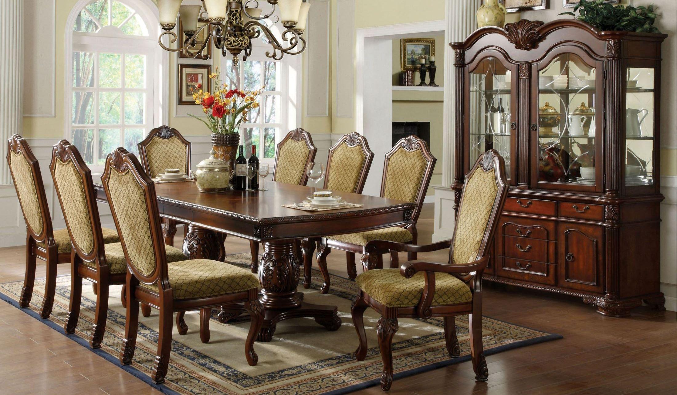 Napa valley dark cherry rectangular double pedestals for Cherry dining room set