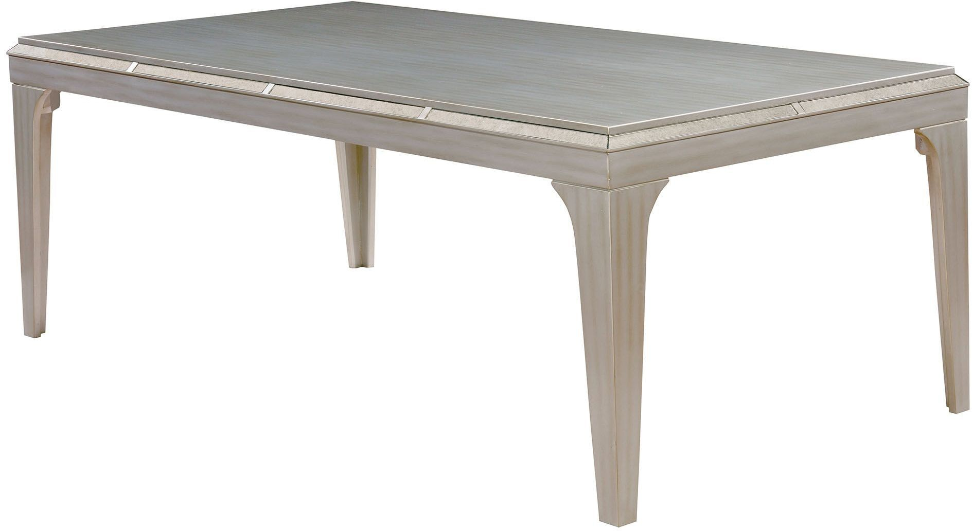 Diocles silver rectangular dining table from furniture of america coleman furniture - Silver dining tables ...