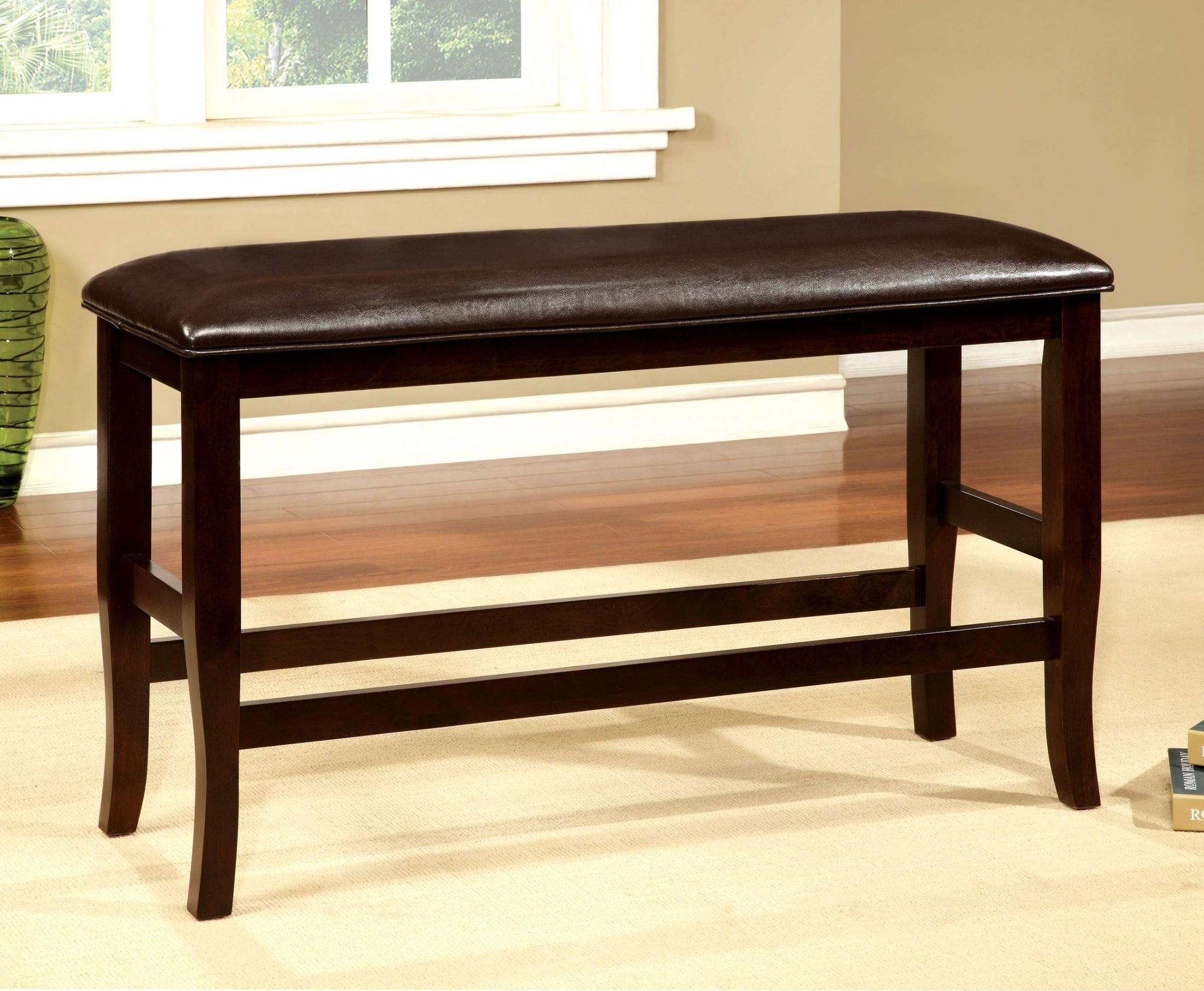 Woodside Ii Espresso Counter Height Bench From Furniture Of America Cm3024pbn Coleman Furniture