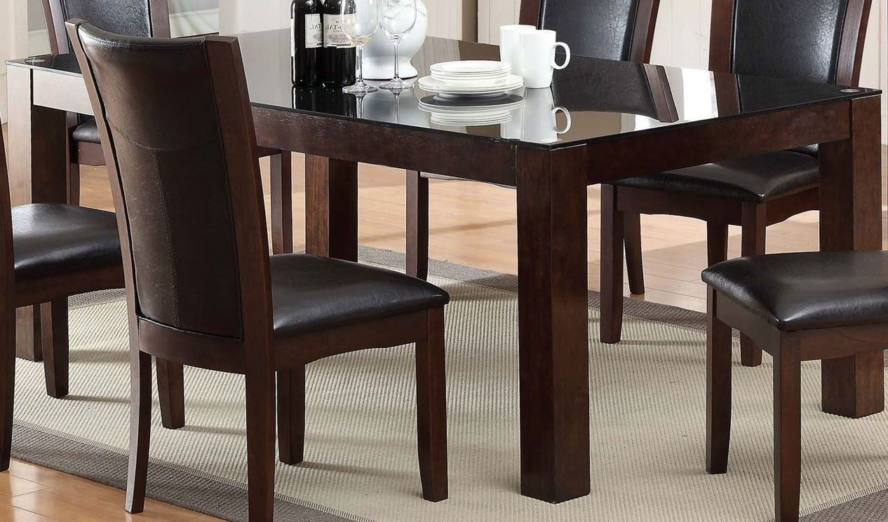 astoria i dark cherry glass top rectangular leg dining table from furniture of america cm3062t. Black Bedroom Furniture Sets. Home Design Ideas