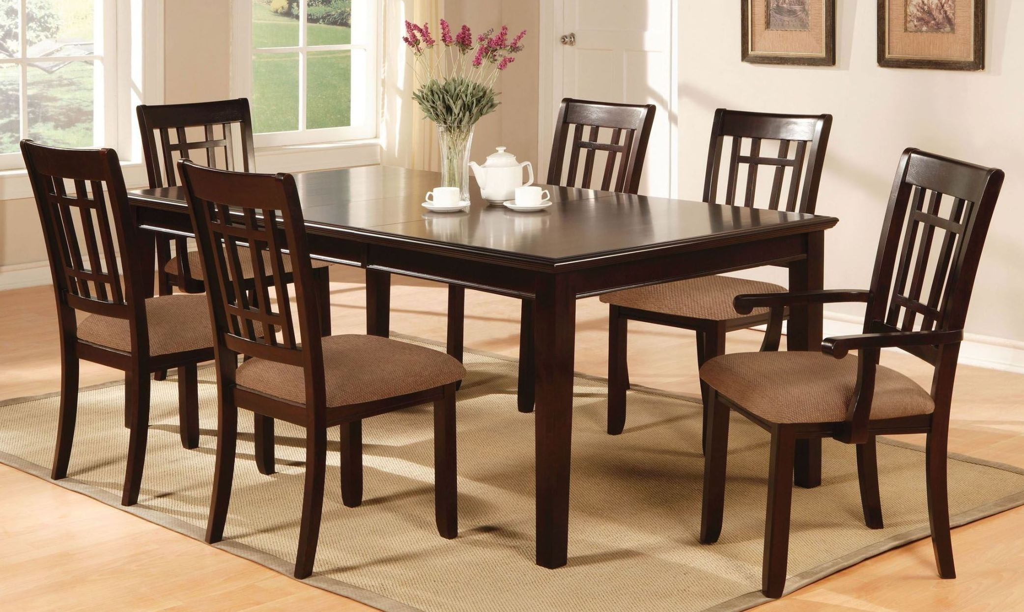Central Park I Dark Cherry Rectangular Leg Dining Room Set From Furniture Of America (CM3100T