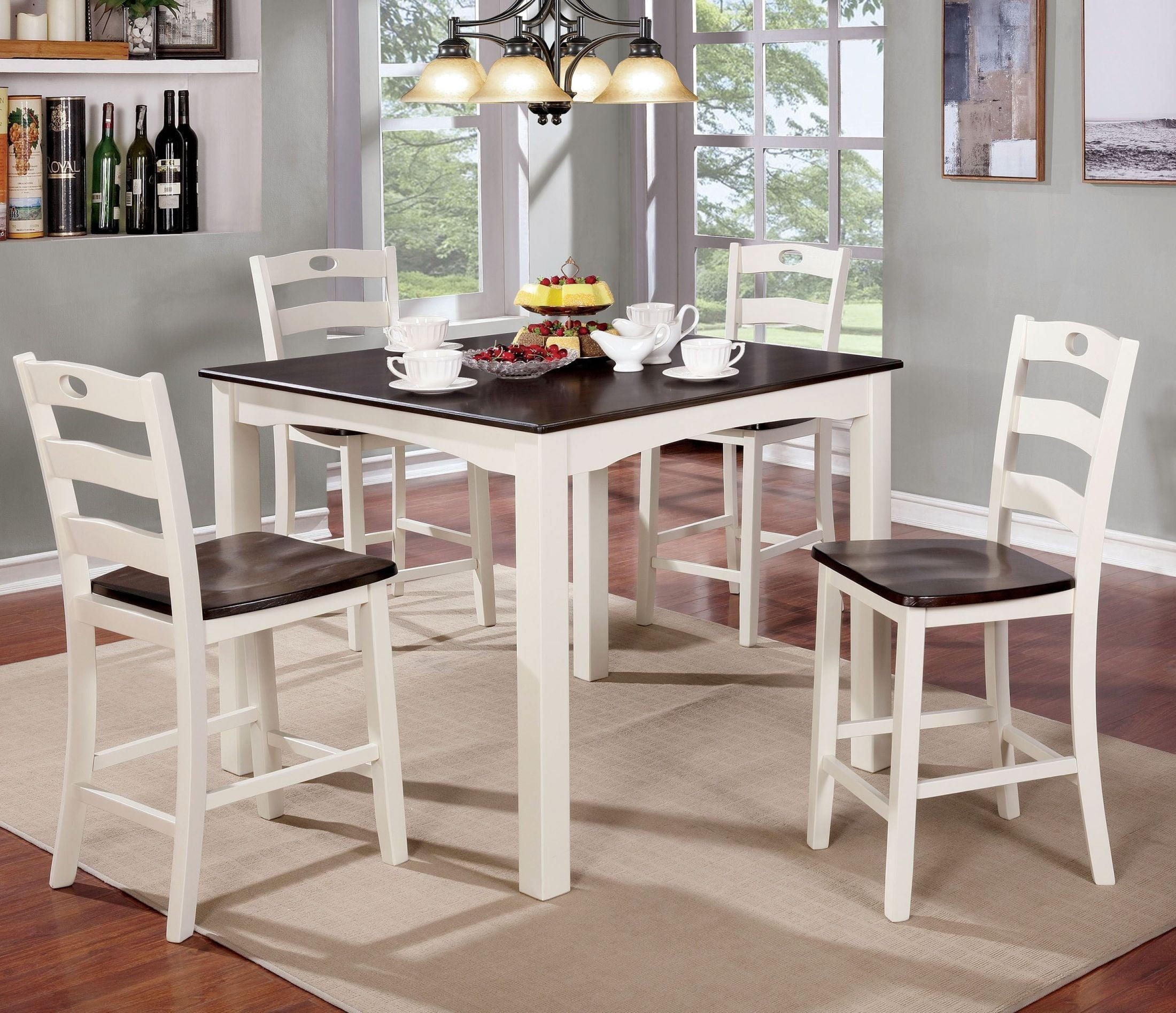liliana 5 piece white and walnut counter height table set from furniture of america coleman. Black Bedroom Furniture Sets. Home Design Ideas