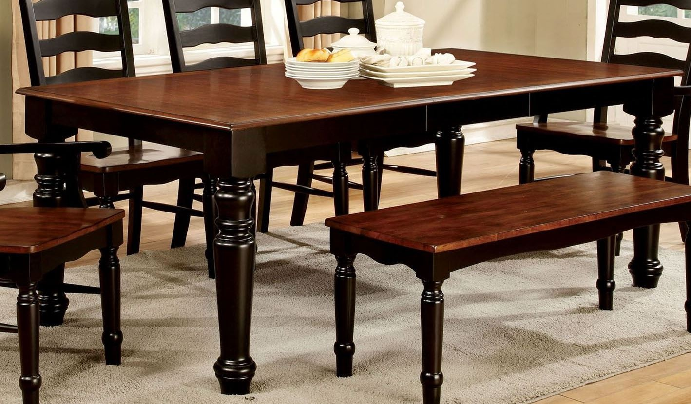 palisade black and cherry rectangular extendable leg dining table from furniture of america. Black Bedroom Furniture Sets. Home Design Ideas