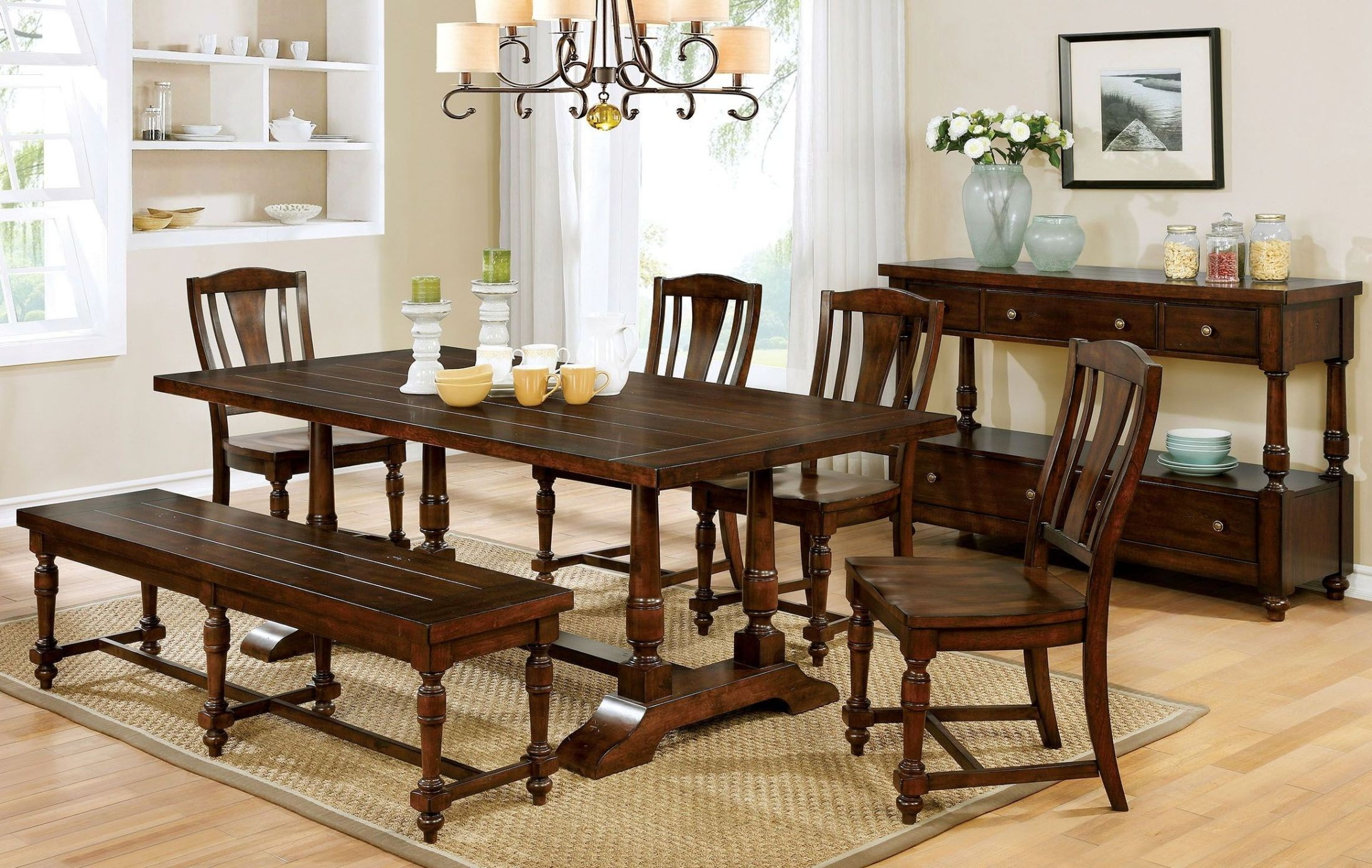 Griselda brown cherry rectangular dining room set from for Cherry dining room