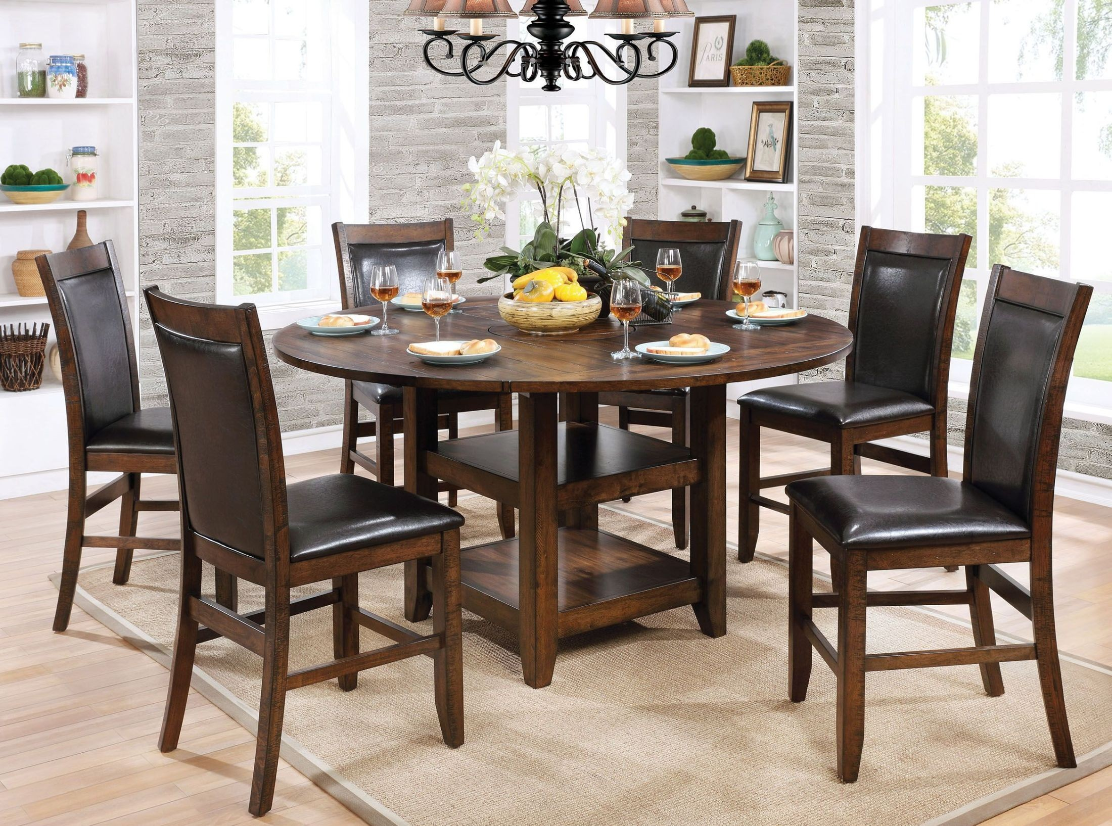 Meagan ii brown cherry round counter height dining room for Furniture of america