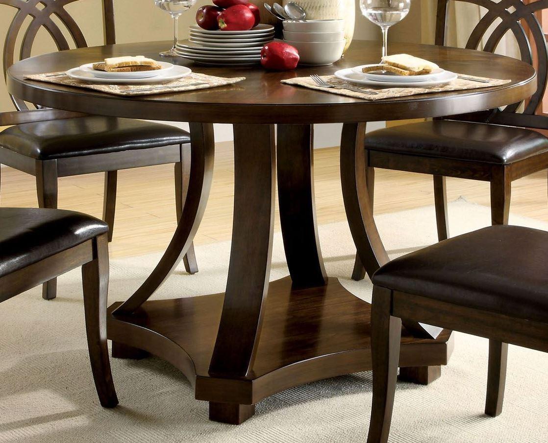 Keukenhof Dark Walnut Round Pedestal Dining Room Set From