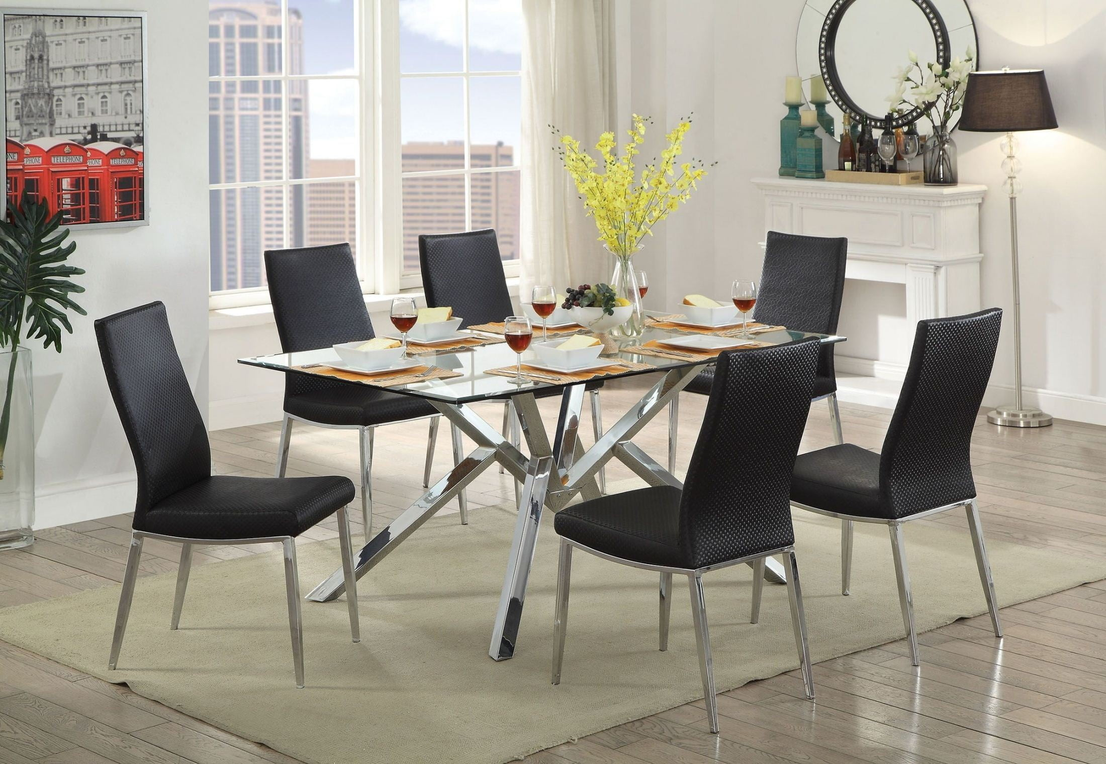 Grace Chrome Dining Room Set From Furniture Of America | Coleman Furniture