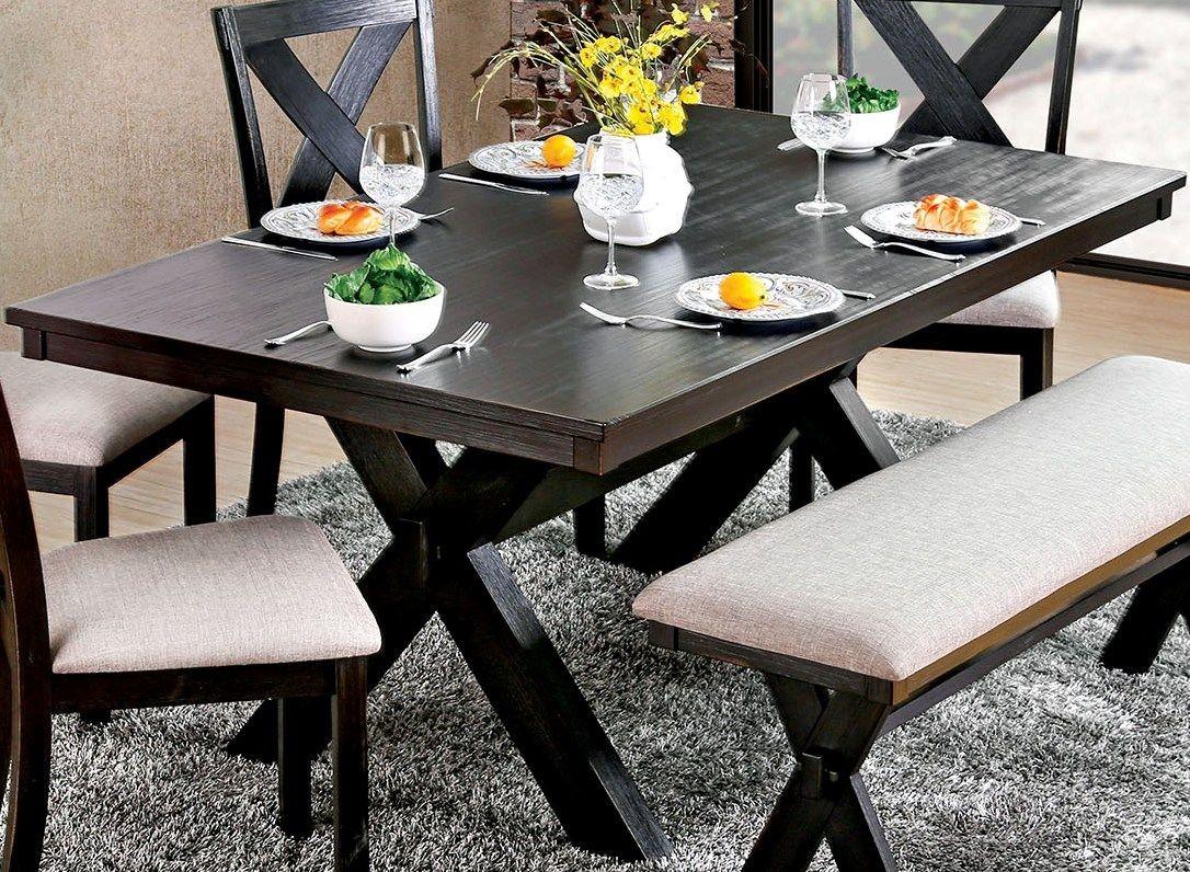 xanthe black rectangular dining table from furniture of america coleman furniture. Black Bedroom Furniture Sets. Home Design Ideas