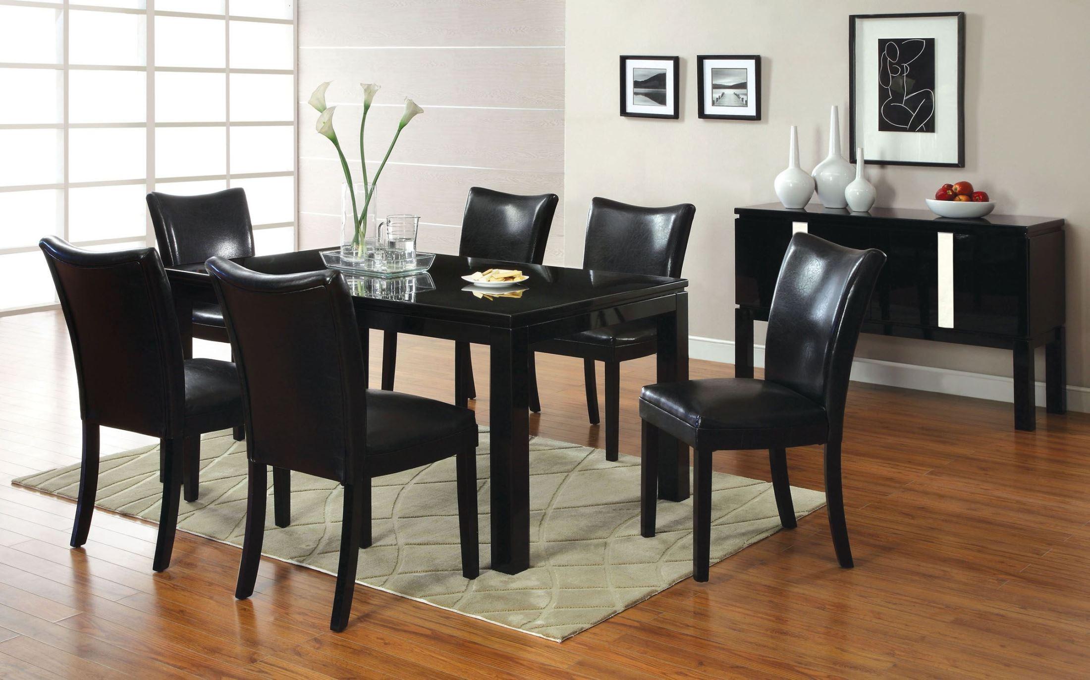 lamia i black high gloss rectangular leg dining room set from furniture of america cm3176bk t. Black Bedroom Furniture Sets. Home Design Ideas