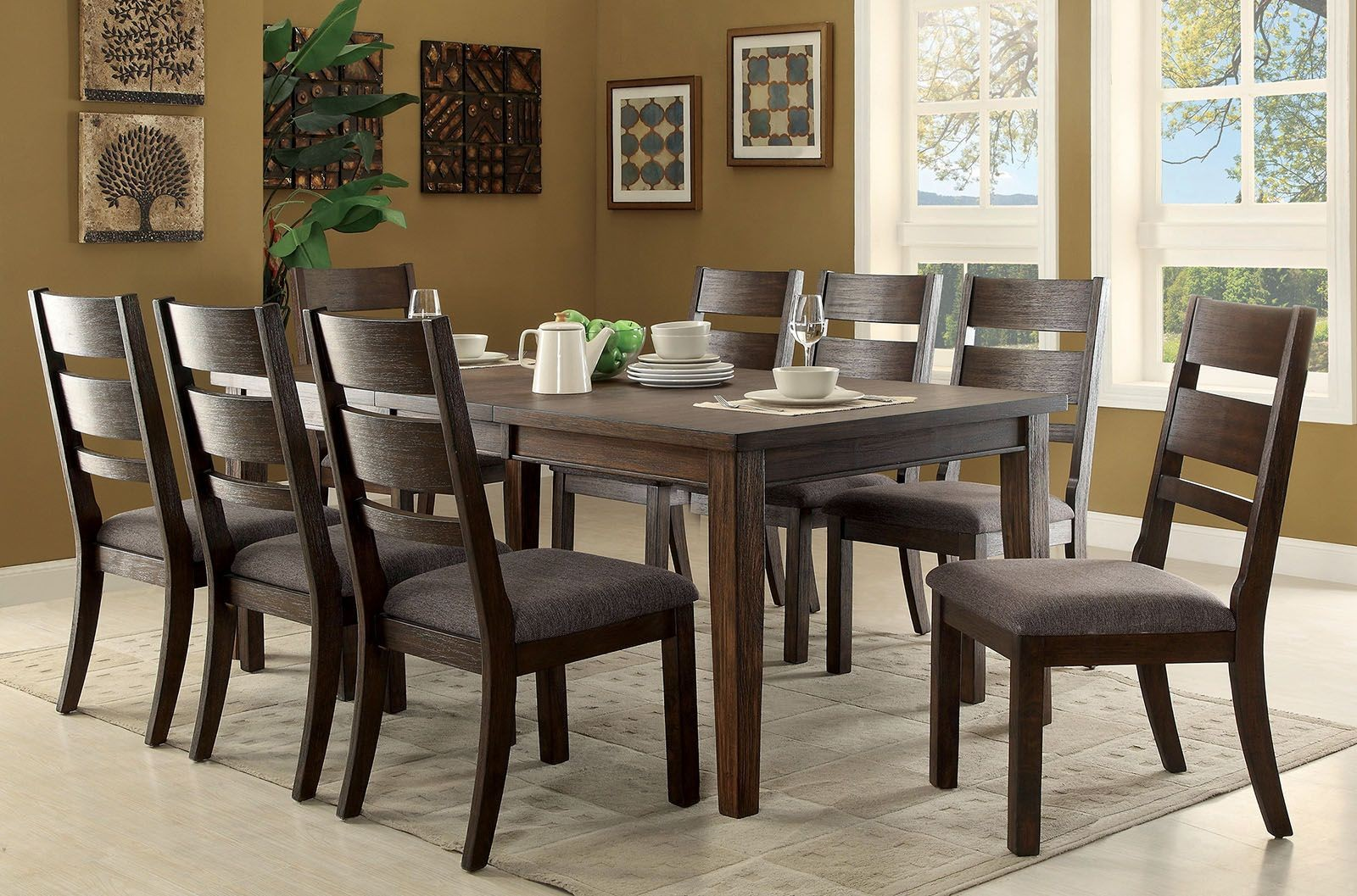 Isadora Espresso Extendable Rectangular Dining Room Set CM3191T Furniture O