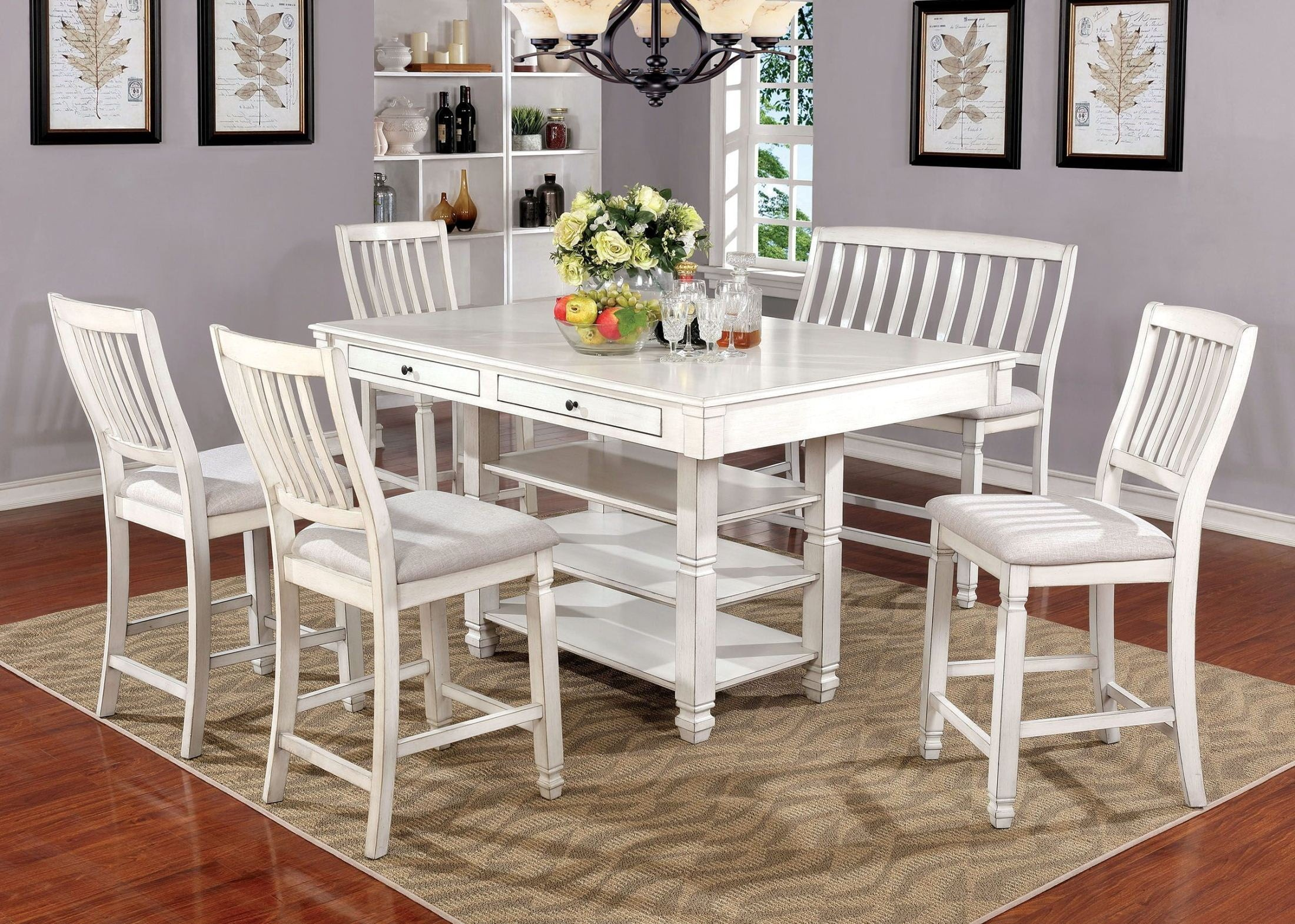Merveilleux Kaliyah Antique White Counter Height Dining Room Set From Furniture Of  America | Coleman Furniture