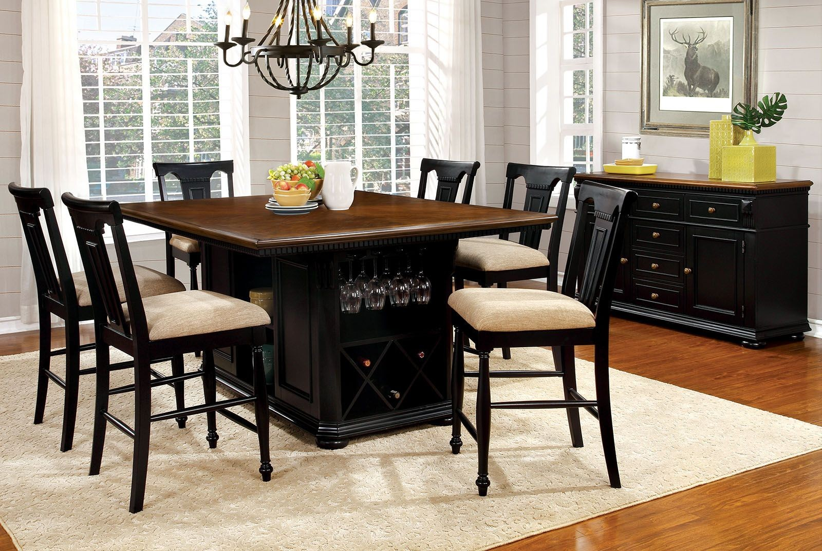 Sabrina cherry black counter height dining room set from for Furniture of america furniture
