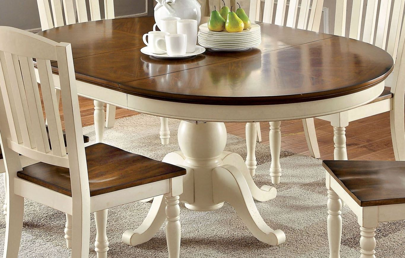 harrisburg vintage white and dark oak oval extendable dining table from furniture of america. Black Bedroom Furniture Sets. Home Design Ideas
